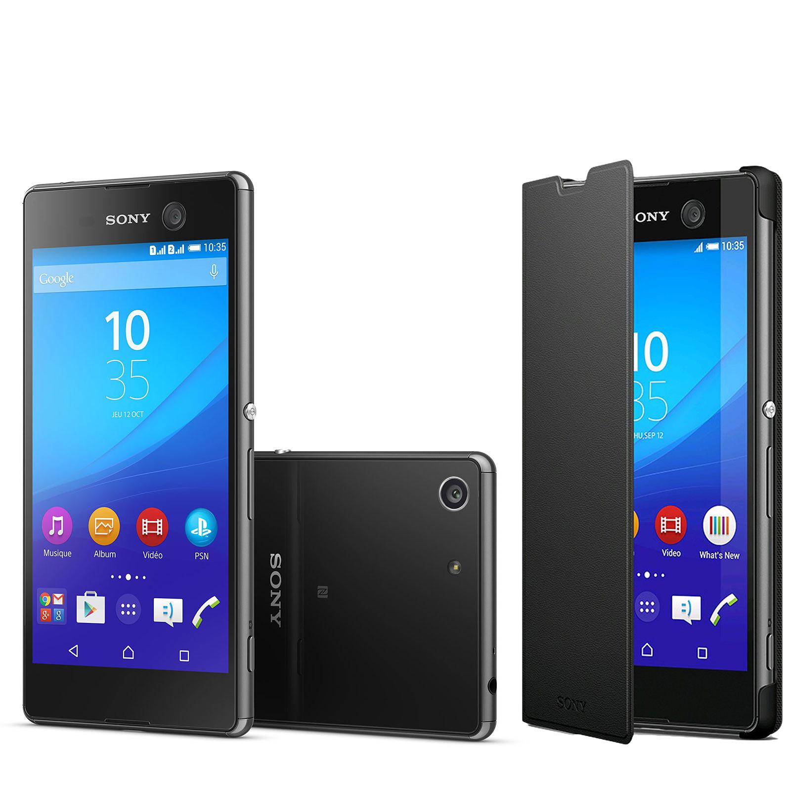 Sony Xperia M5 Dual SIM Noir + Etui Folio Noir