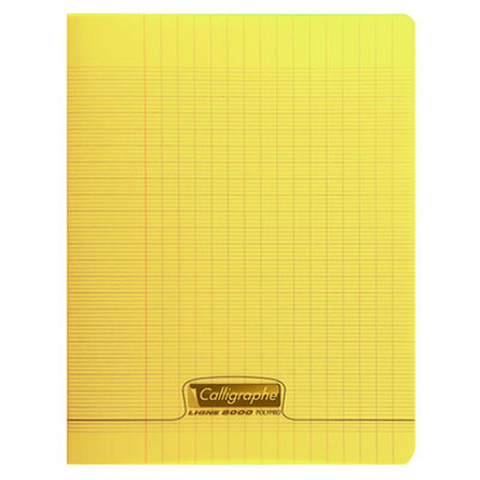 Calligraphe 8000 Polypro Cahier 96 pages 17 x 22 cm seyes grands carreaux Jaune