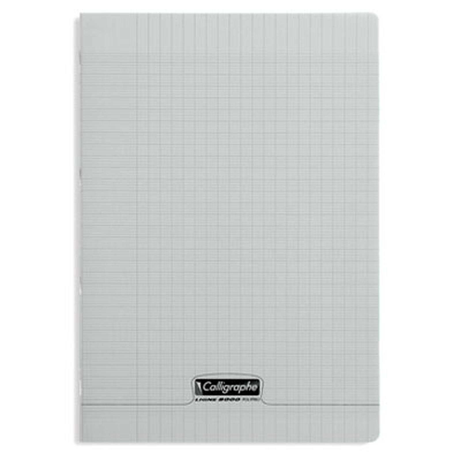 Calligraphe 8000 Polypro Cahier 96 pages 21 x 29.7 cm seyes grands carreaux Gris