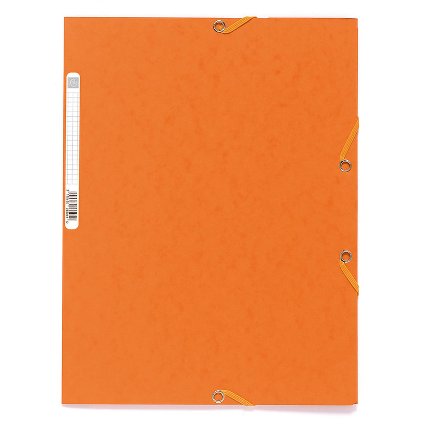 Exacompta Chemises 3 rabats élastiques 400g Orange x 25