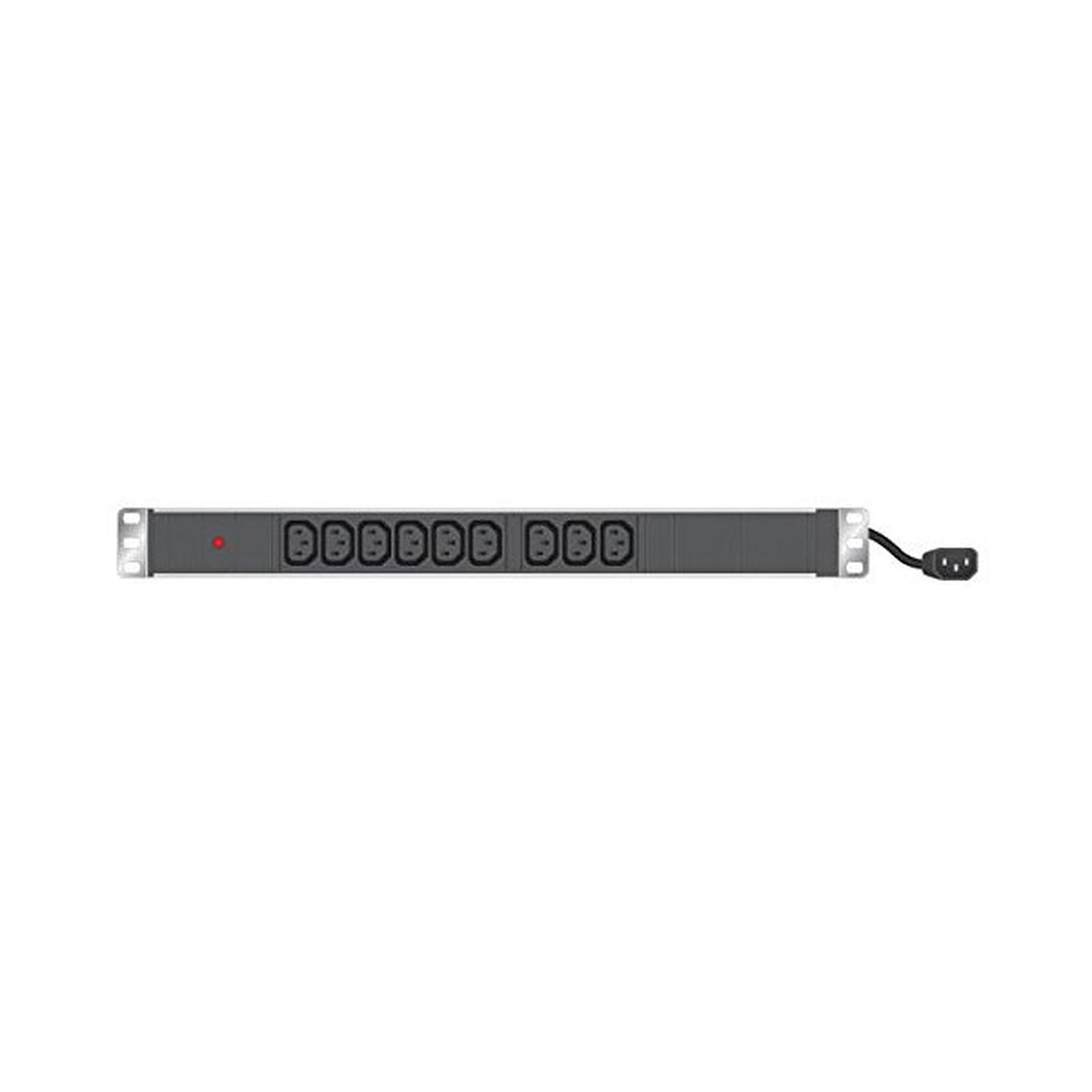 Multiprise rackable pour armoire réseau - longueur 19'' - hauteur 1U  - 9 prises IEC C13 - fiche IEC C14 - voyant lumineux