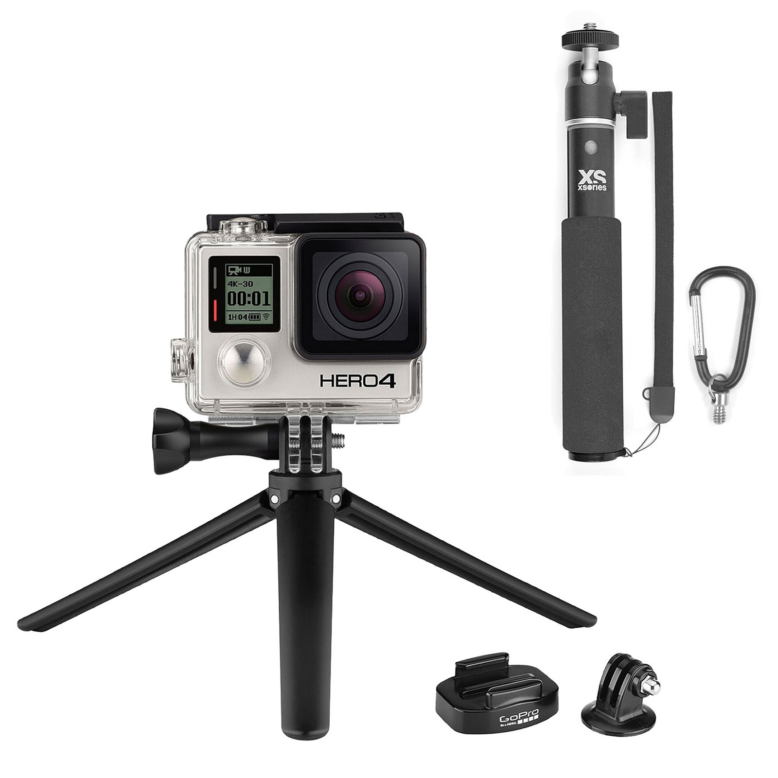 GoPro HERO 4 : Silver Edition + U-Shot Monochrome + Tripod Mount + Mini Tripod