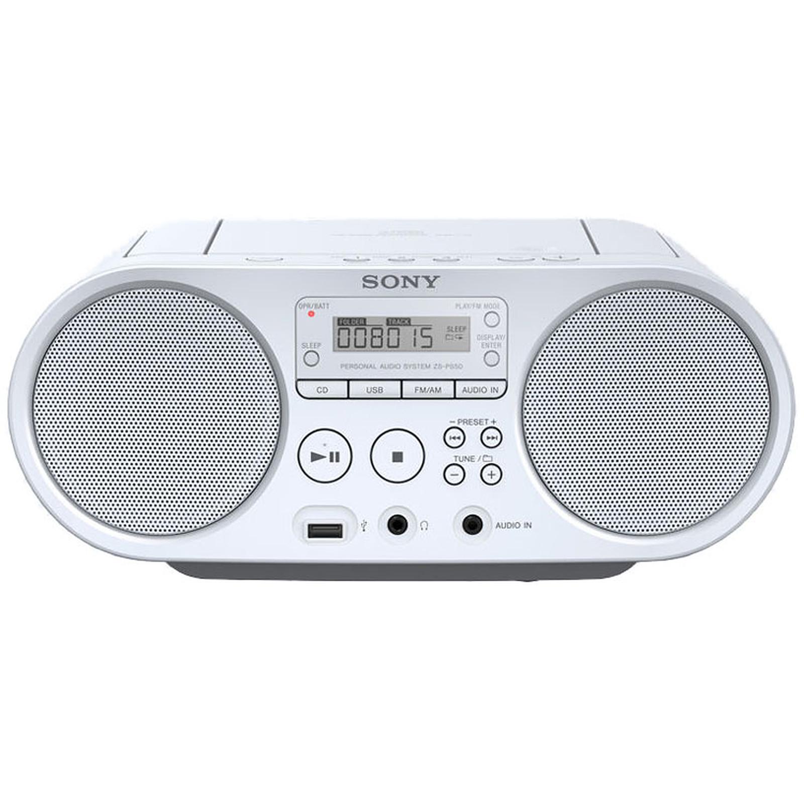 ad6aa3eafa9299 Radio CD portable MP3 WMA USB avec Tuner FM AM. Sony ZS-PS50 Blanc