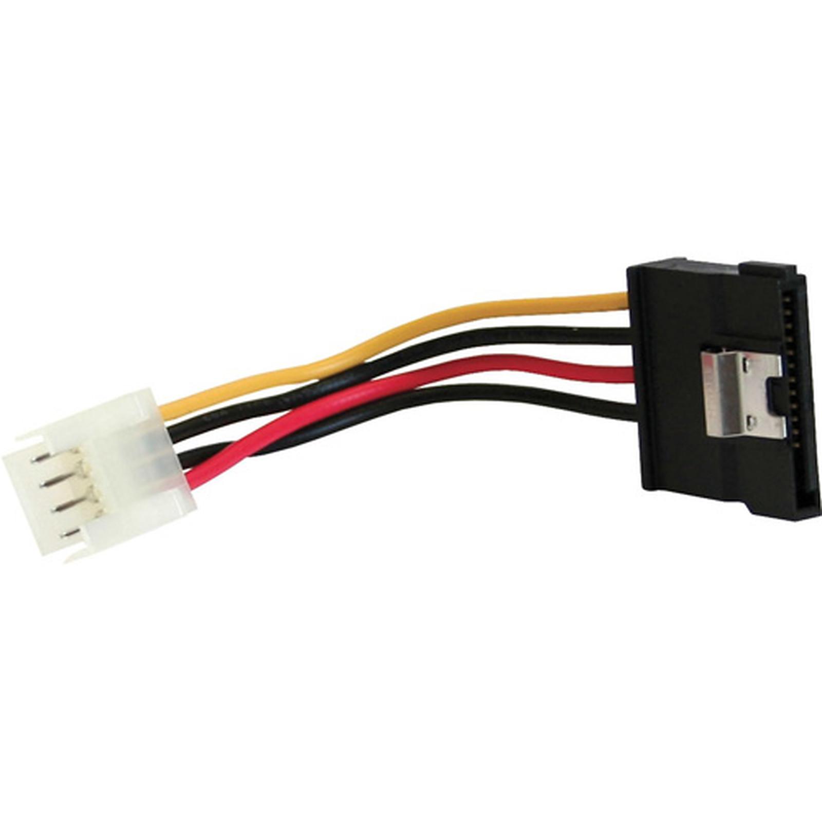 Adaptateur d'alimentation floppy 4 pin vers SATA coudé 15 Pin (6 cm)