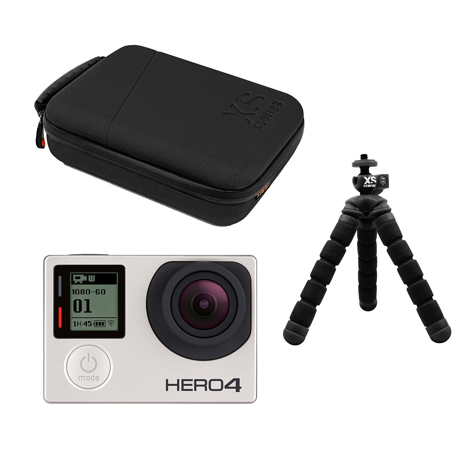 GoPro HERO 4 : Silver Edition + XSories capxule small case noir + Tripod Mount + Mini bendy noir