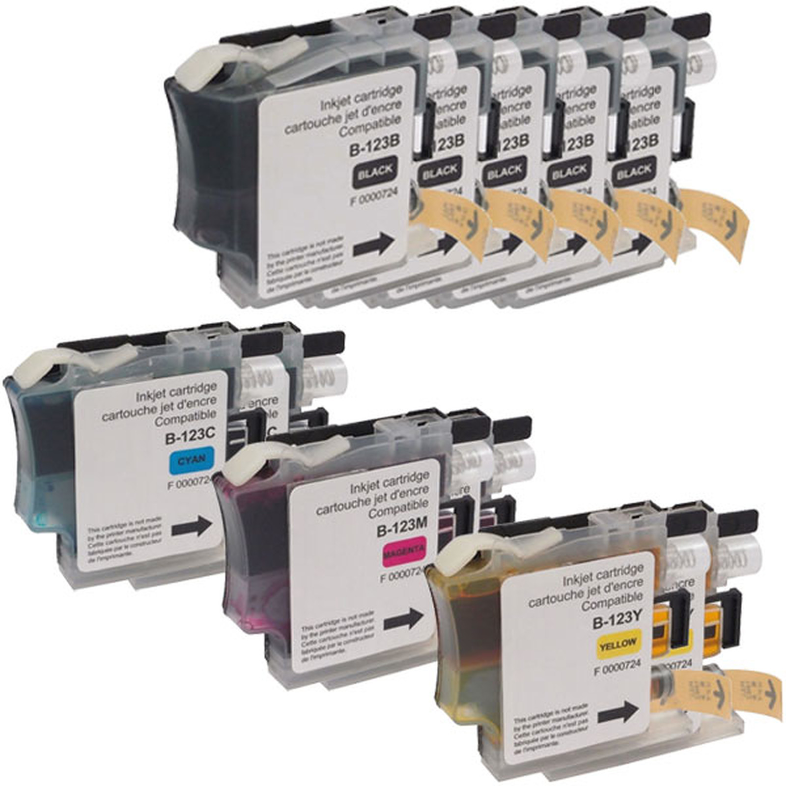 Megapack cartucho compatibles Brother LC121/LC123/LC125 (negro, cyan, magenta et amarillo)