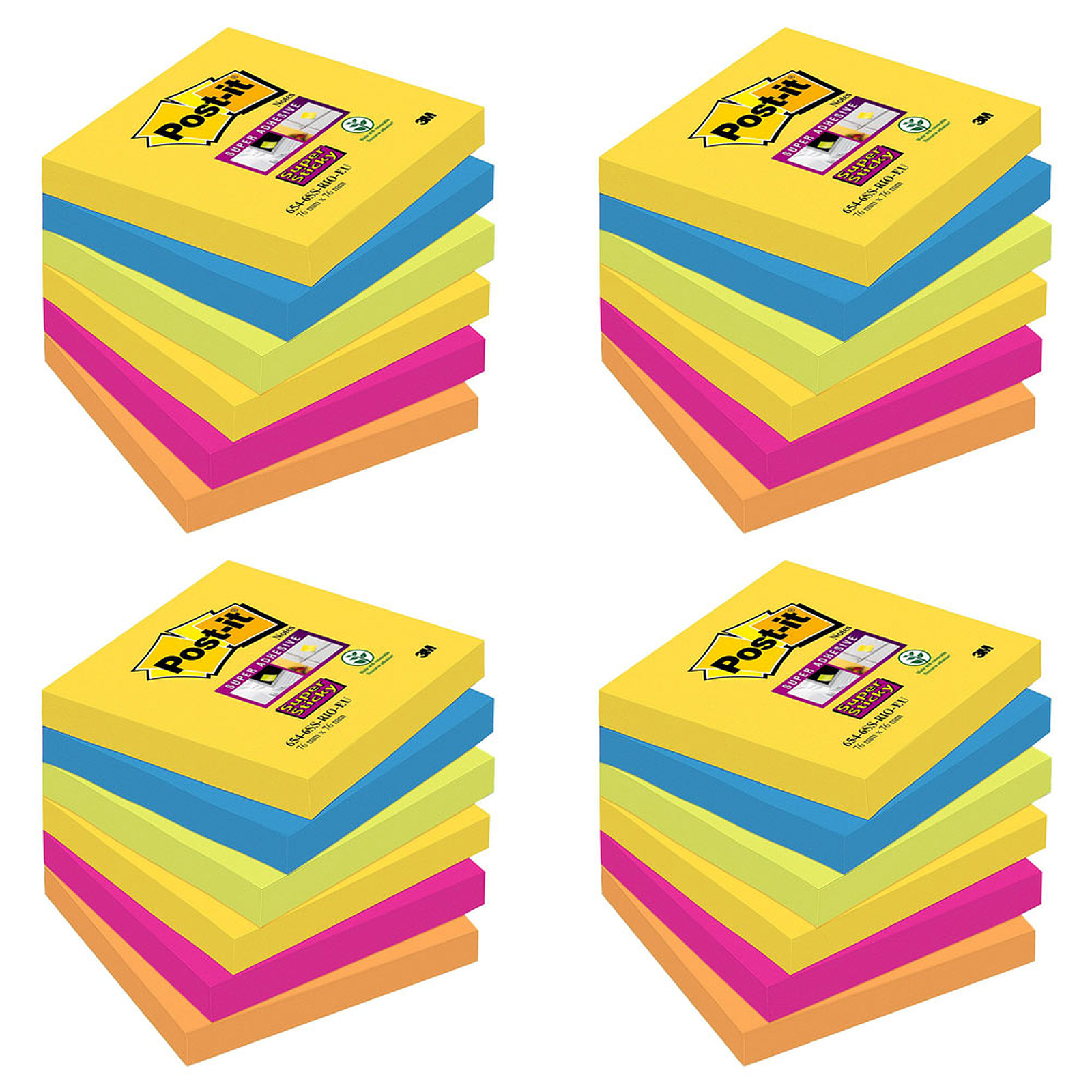 Post-it Bloc Super Sticky 90 feuillets 76 x 76 mm Rio X 24