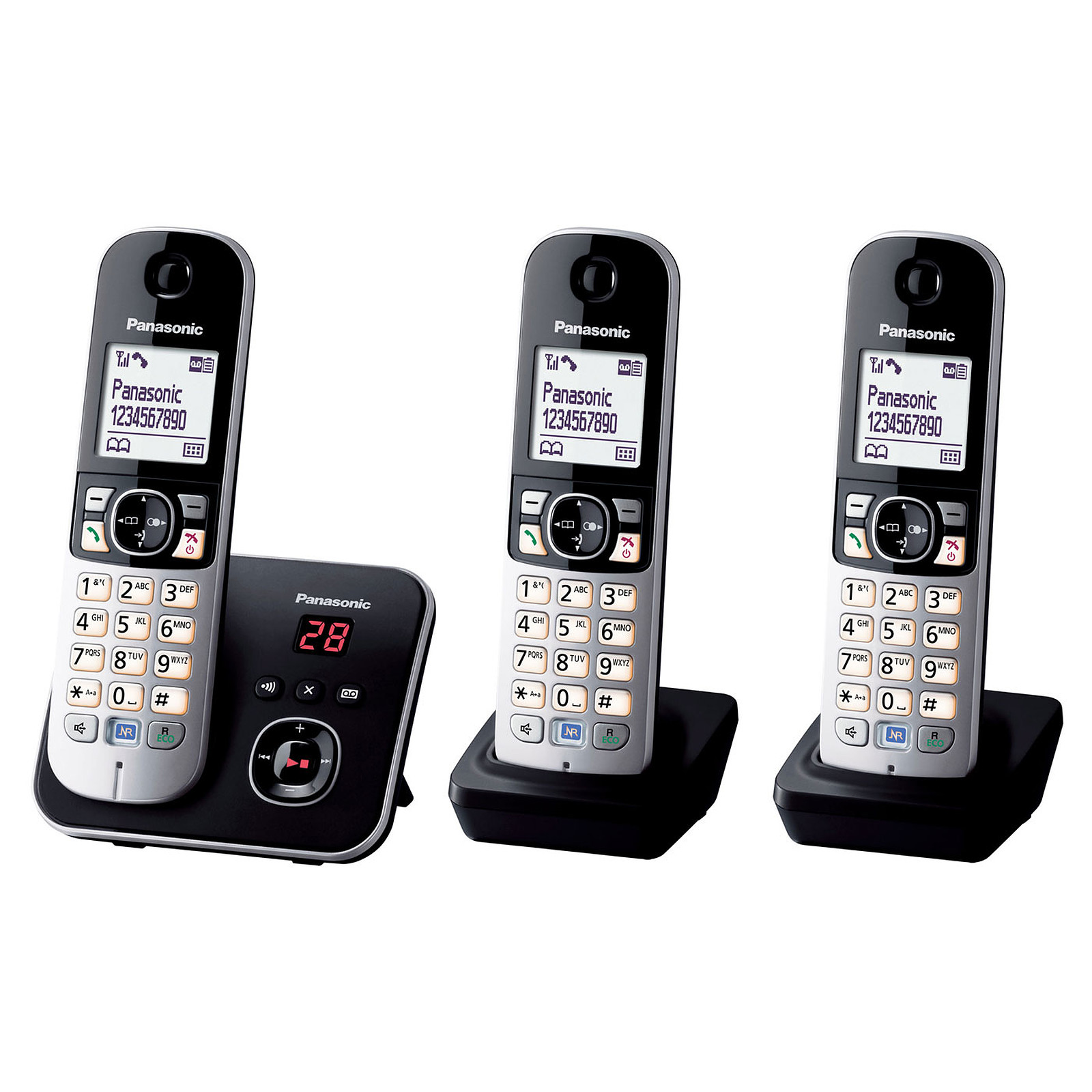 panasonic kx tg6823fr trio noir t l phone sans fil panasonic sur. Black Bedroom Furniture Sets. Home Design Ideas