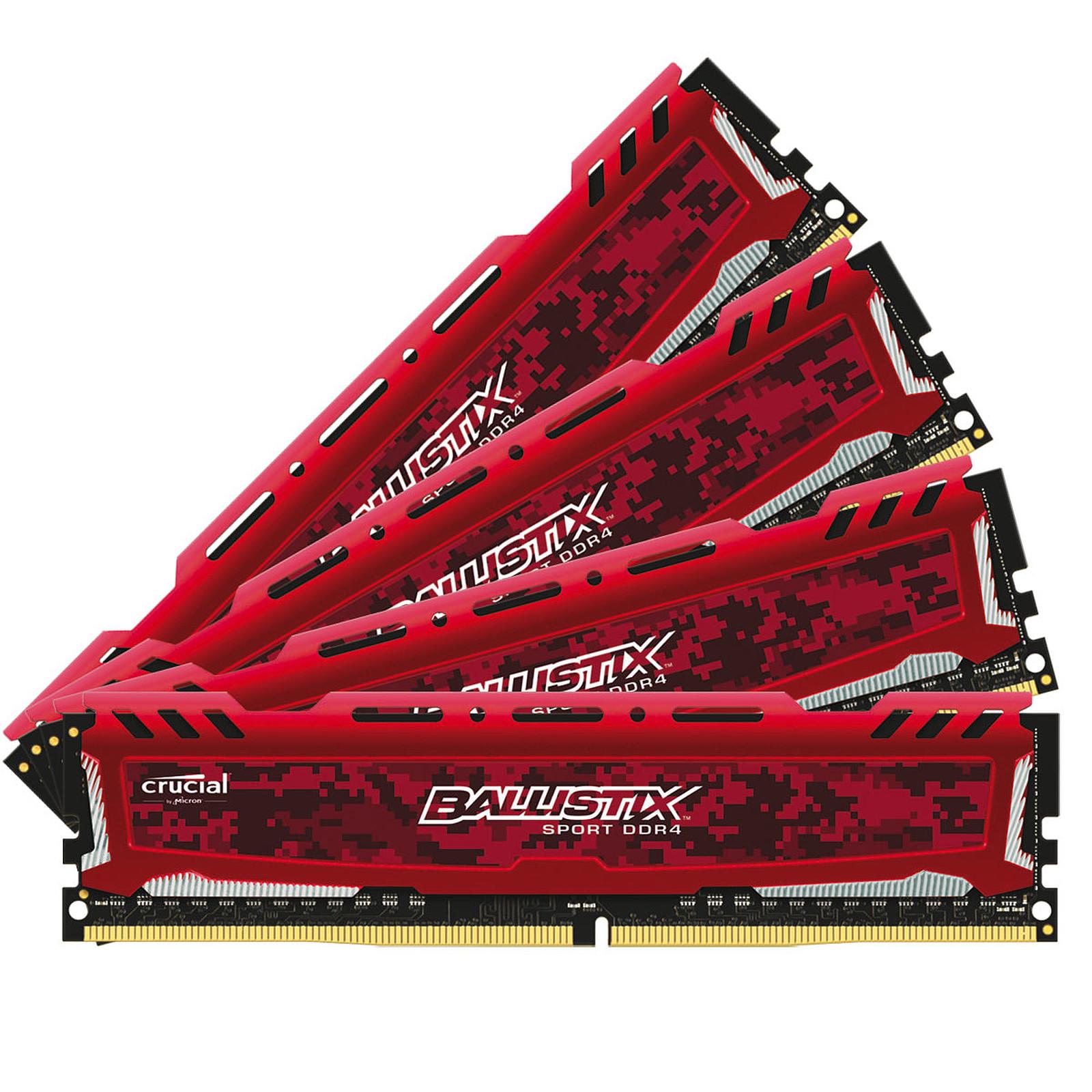 Ballistix Sport 32 Go (4 x 8 Go) DDR4 2400 MHz CL16 SR - Rouge