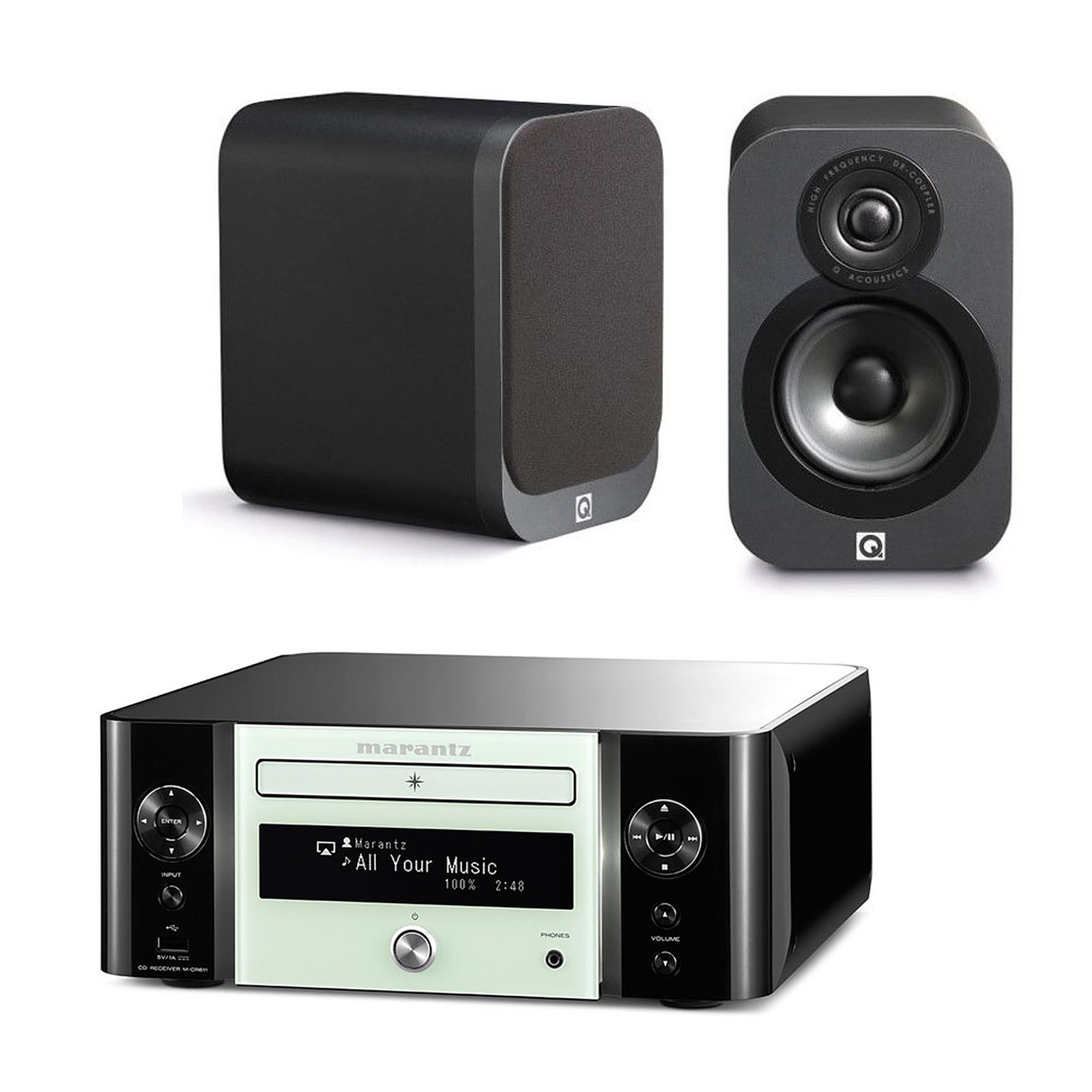 Marantz Melody Stream M-CR611 Blanc + Q Acoustics 3010 Graphite