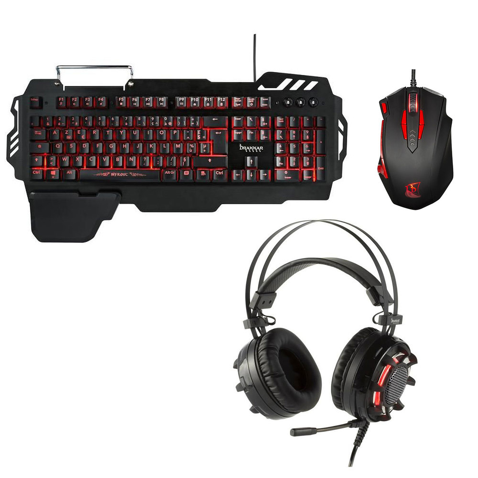 clavier sourie casque pc gamer rouge