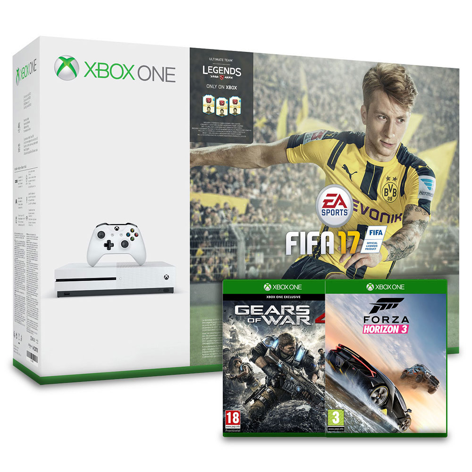 Microsoft Xbox One S (1 To) + FIFA 17 + Gears of War 4 + Forza Horizon 3