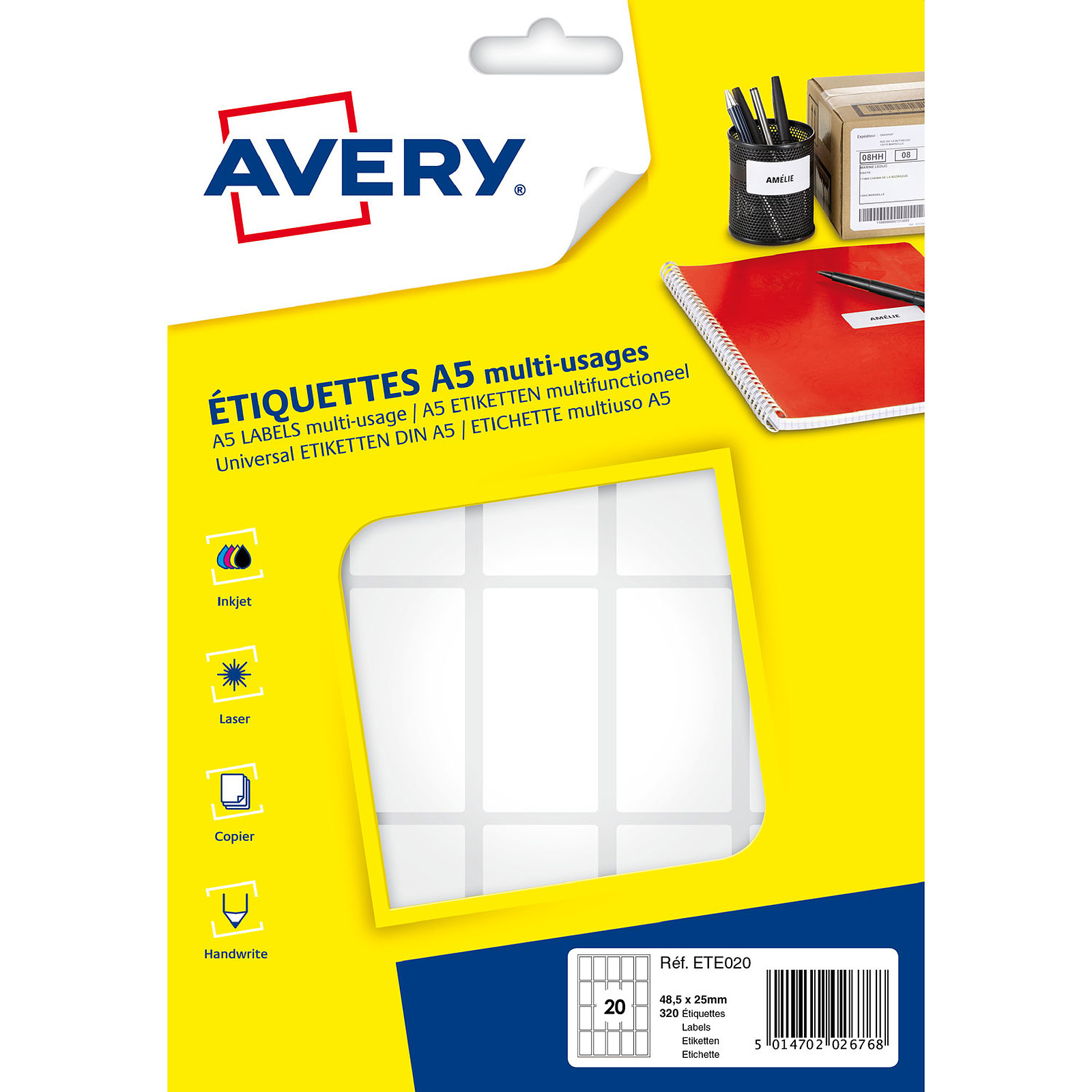 Avery Etiquettes de bureau multi-usages 48.5 x 25 mm x 320