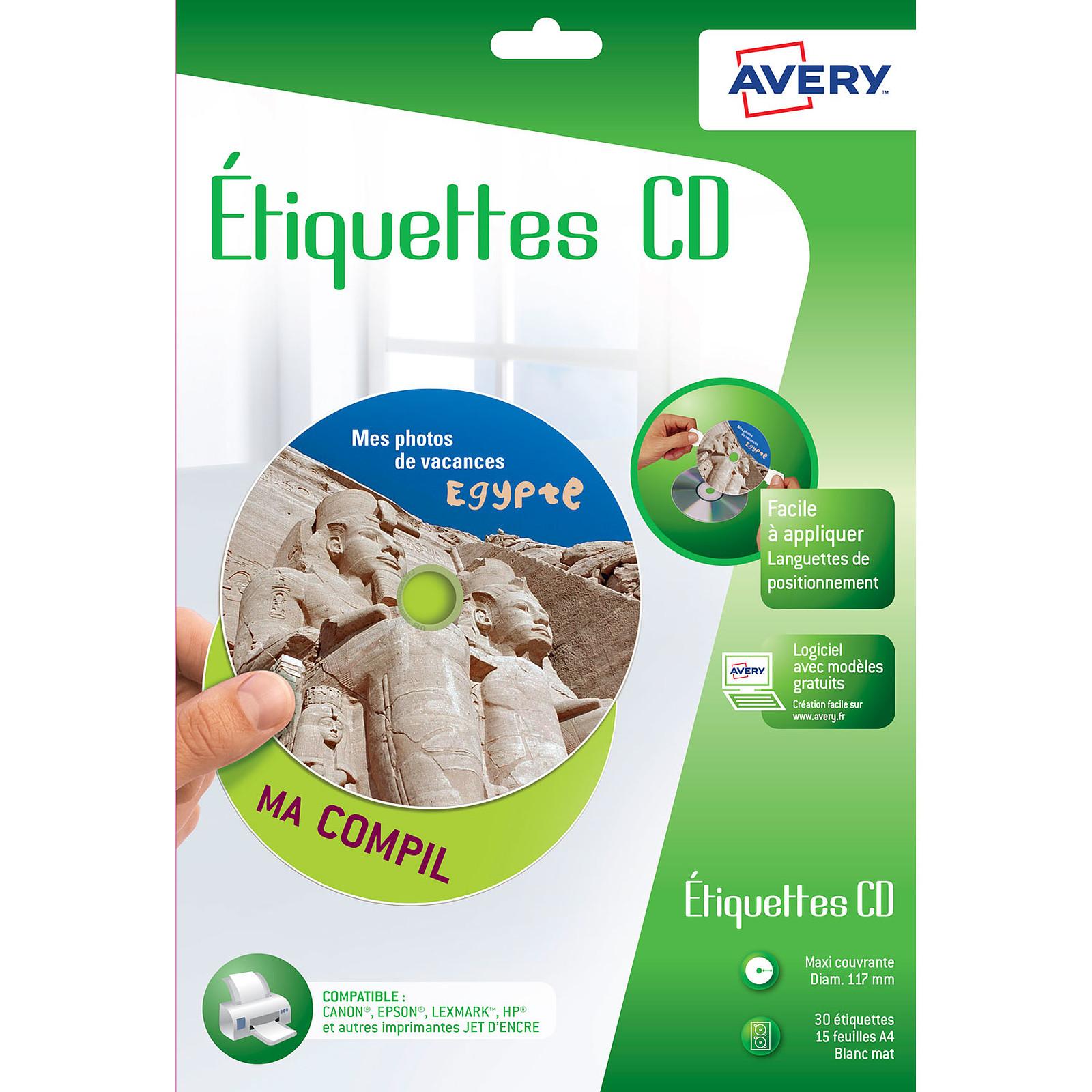Avery Etiquettes CD 117 x 117 mm x 30