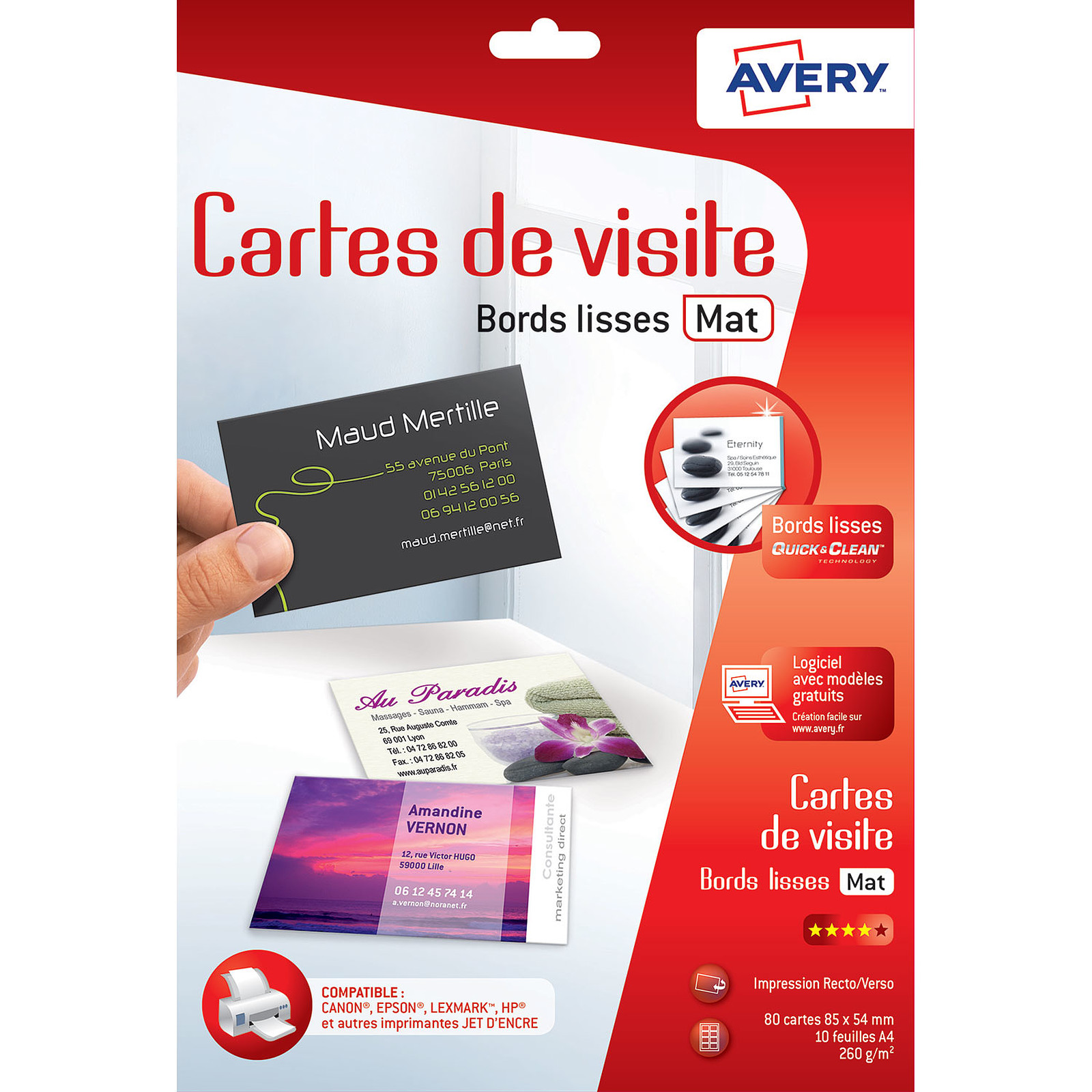Avery QuickClean 80 Cartes De Visite 85 X 54 Mm 85x54mm