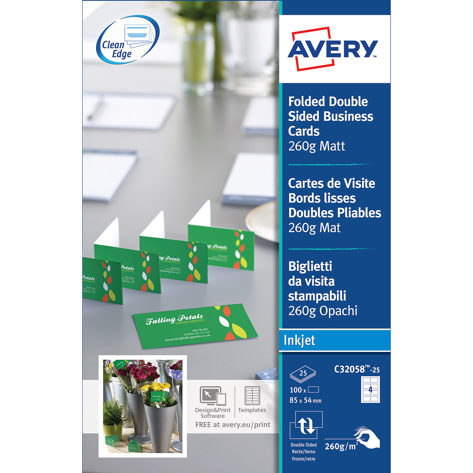 Avery QuickClean 100 Cartes De Visite 85 X 54 Mm Doubles Porte Carte