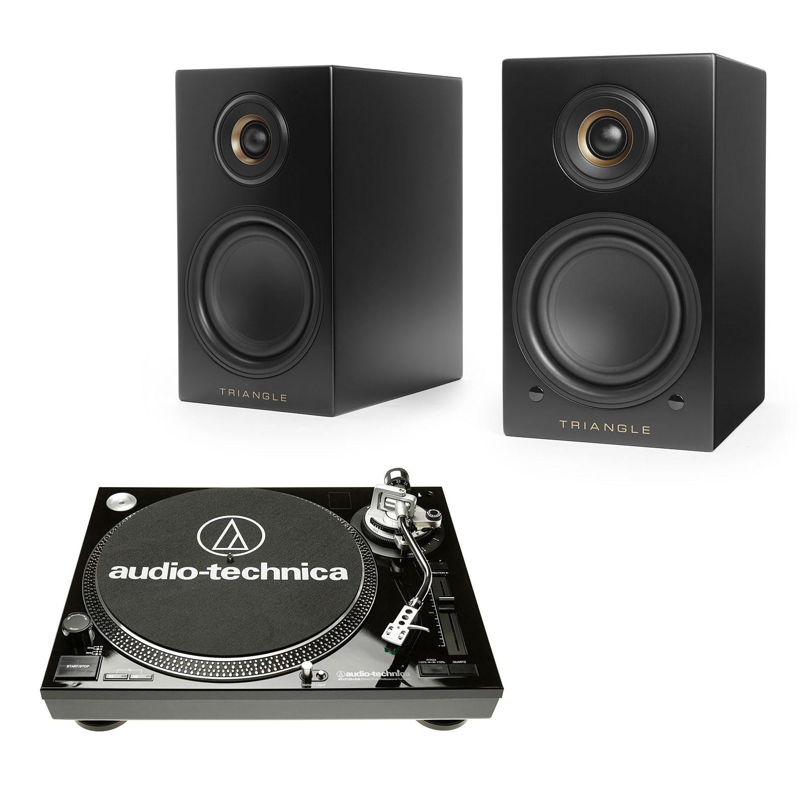 Audio-Technica AT-LP120USBC Noir + Triangle Elara LN01A Noir mat