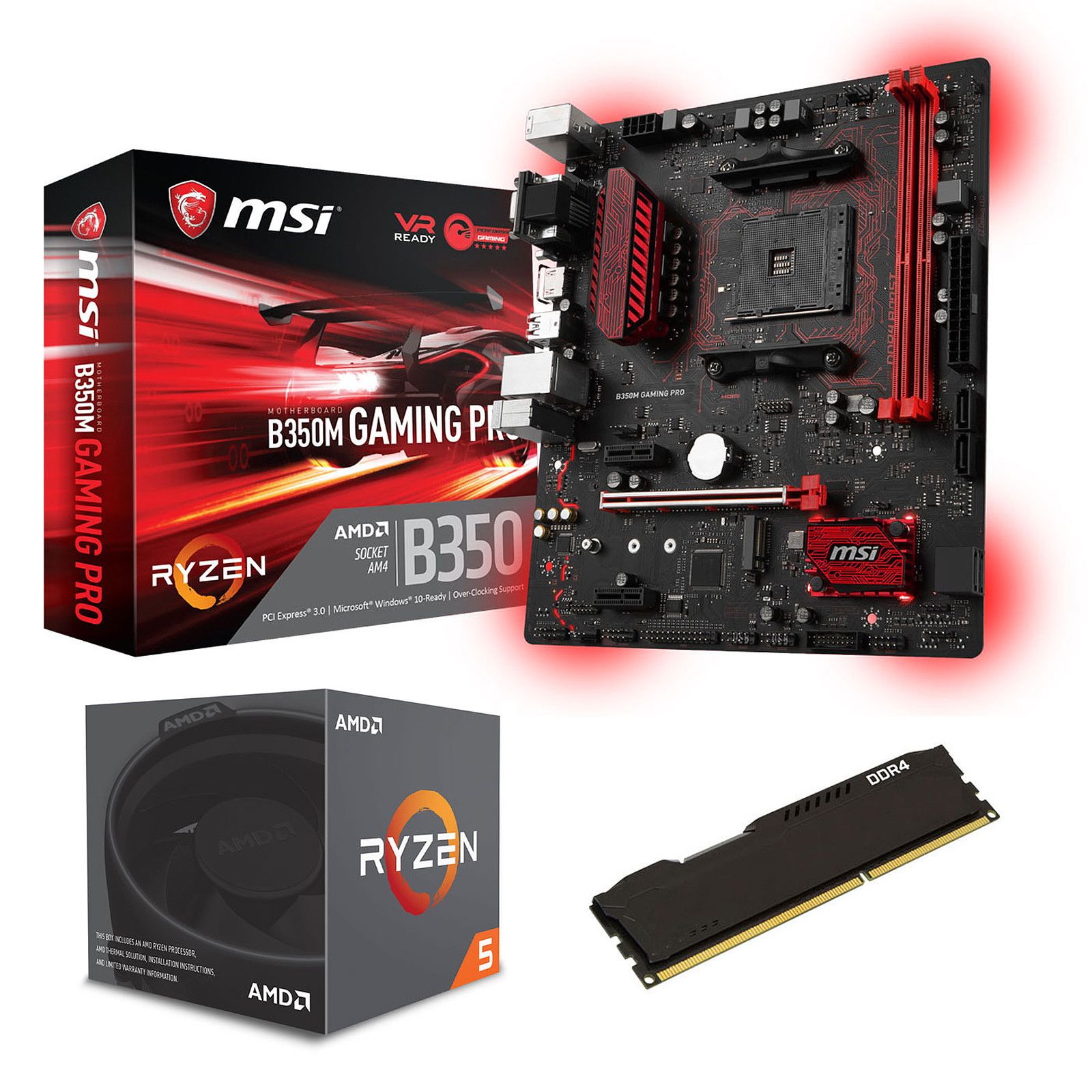 Kit Upgrade PC AMD Ryzen 5 1600 MSI B350M GAMING PRO 8 Go