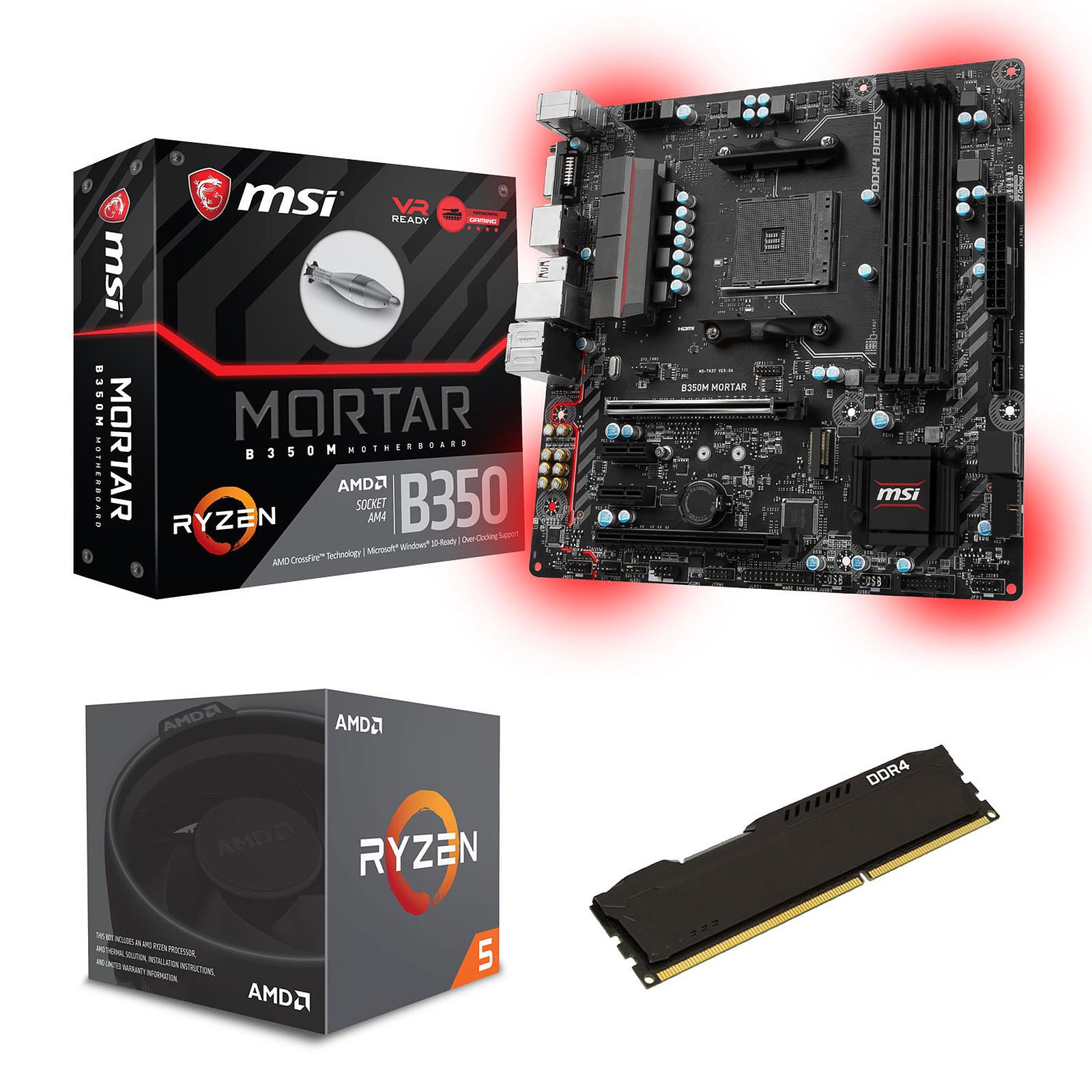 Kit Upgrade PC AMD Ryzen 5 1600 MSI B350M MORTAR 8 Go