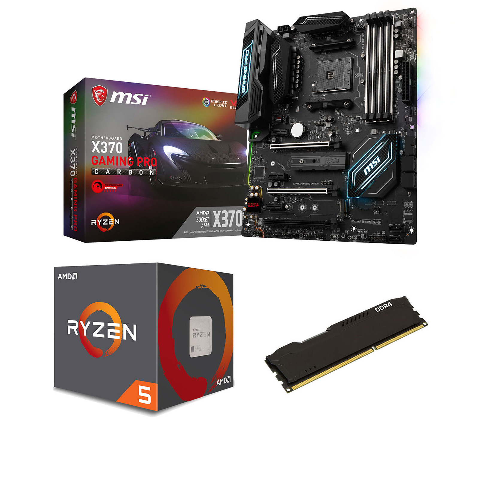 Kit Upgrade PC AMD Ryzen 5 1600 MSI X370 GAMING PRO CARBON 8 Go