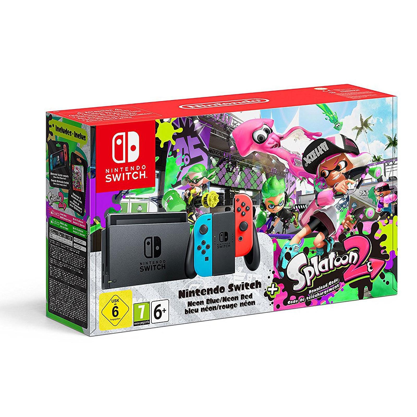 Nintendo Switch + Joy-Con droit (rouge) et gauche (bleu) + Splatoon 2