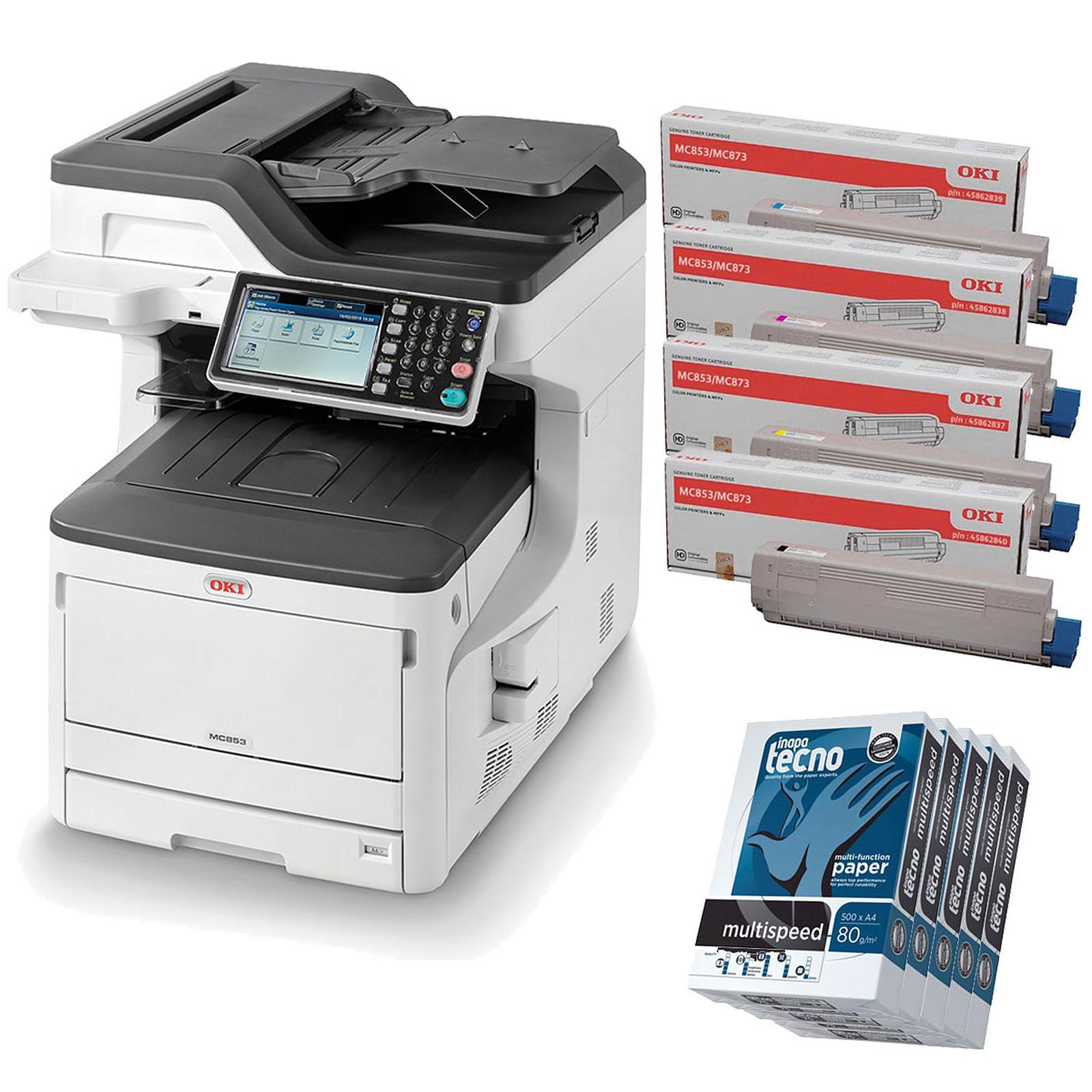Oki MC853dn + 4 Toners (C/M/J/N) + Inapa Tecno MultiSpeed Ramettes 500 feuilles A4 80g blanc x5