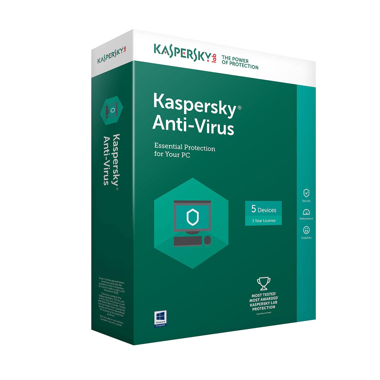Kaspersky Anti-Virus 2018 - Licence 1 an 1 poste