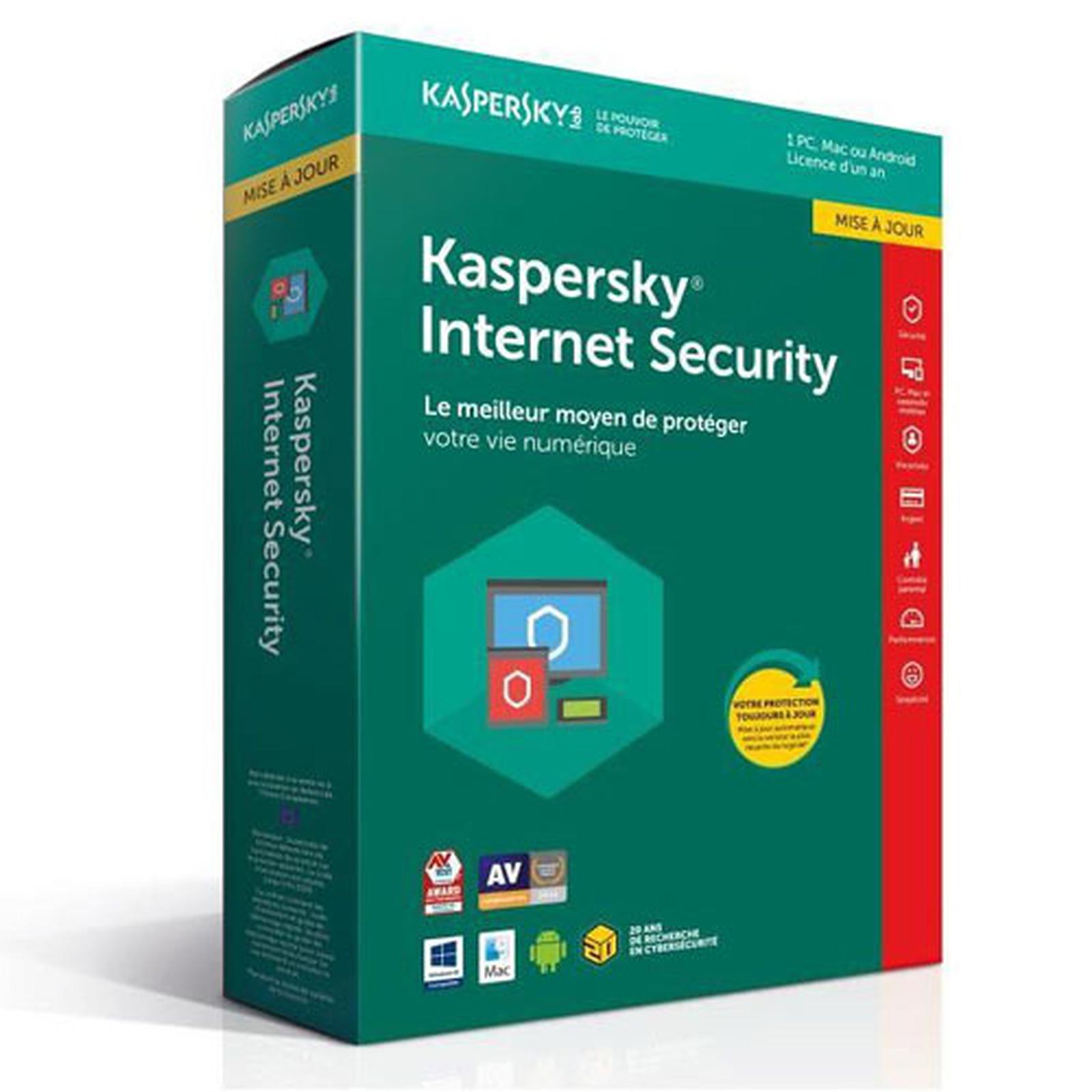 Kaspersky Internet Security 2018 Mise à jour - Licence 1 poste 1 an