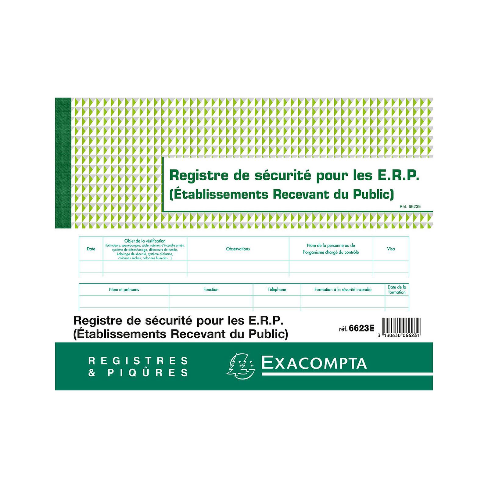 Exacompta Registre de Sécurité pour les ERP