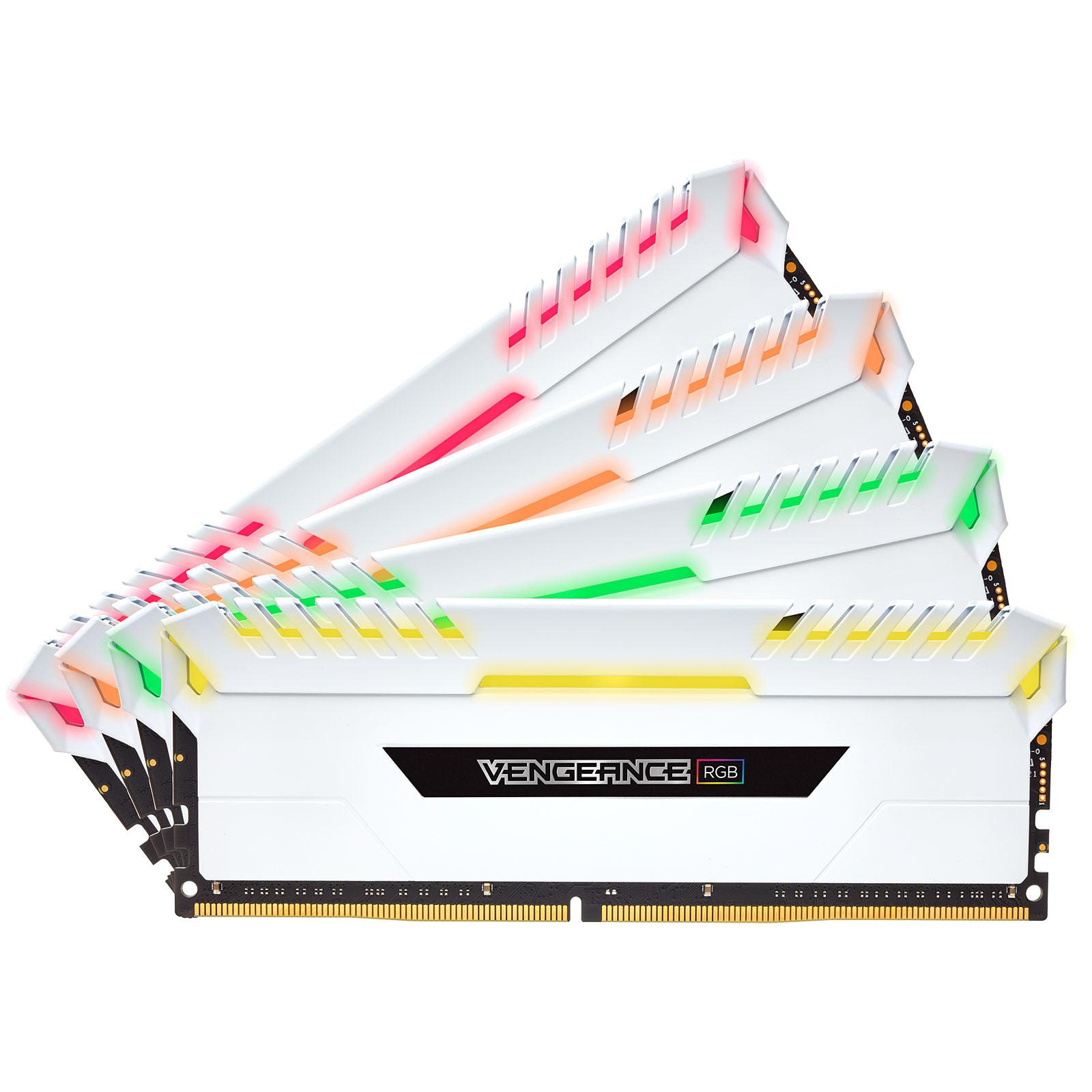 Corsair Vengeance RGB Series 32 Go (4x 8 Go) DDR4 3000 MHz CL15 - Blanc