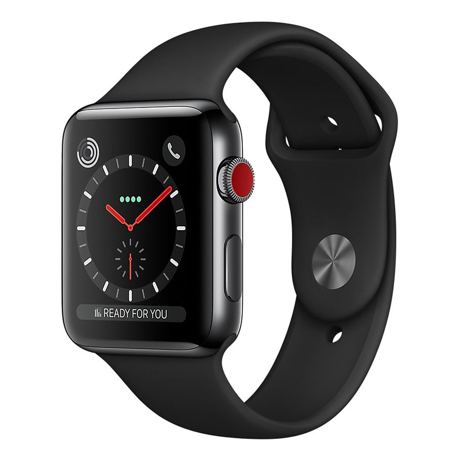 Apple Watch Series 3 GPS + Cellular Acier Noir Sport Noir 42 mm