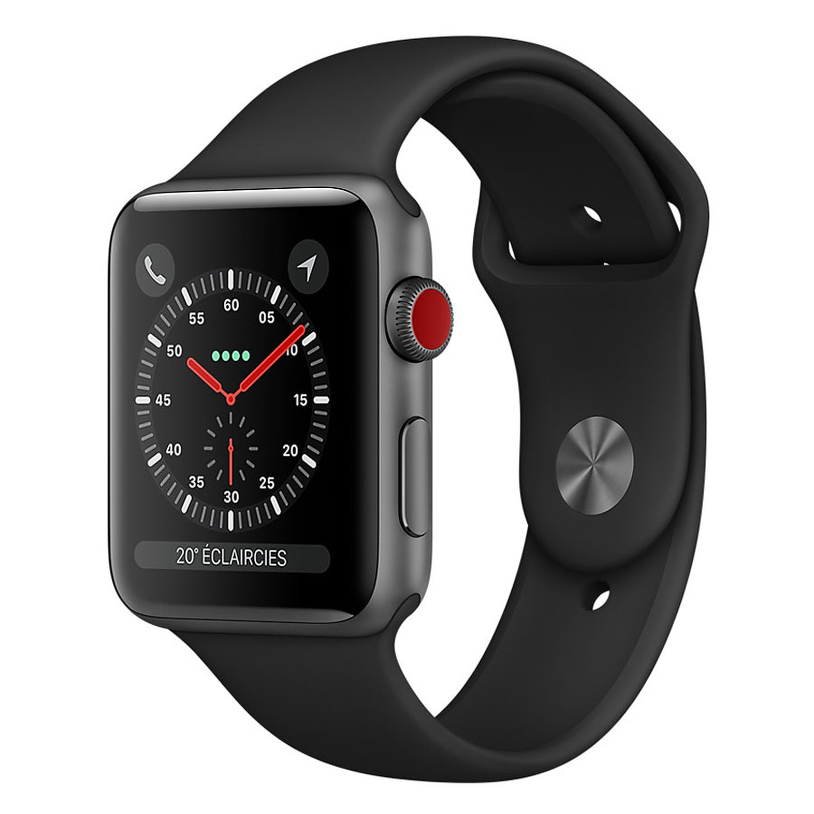 Apple Watch Series 3 GPS + Cellular Aluminium Gris Sport Noir 38 mm