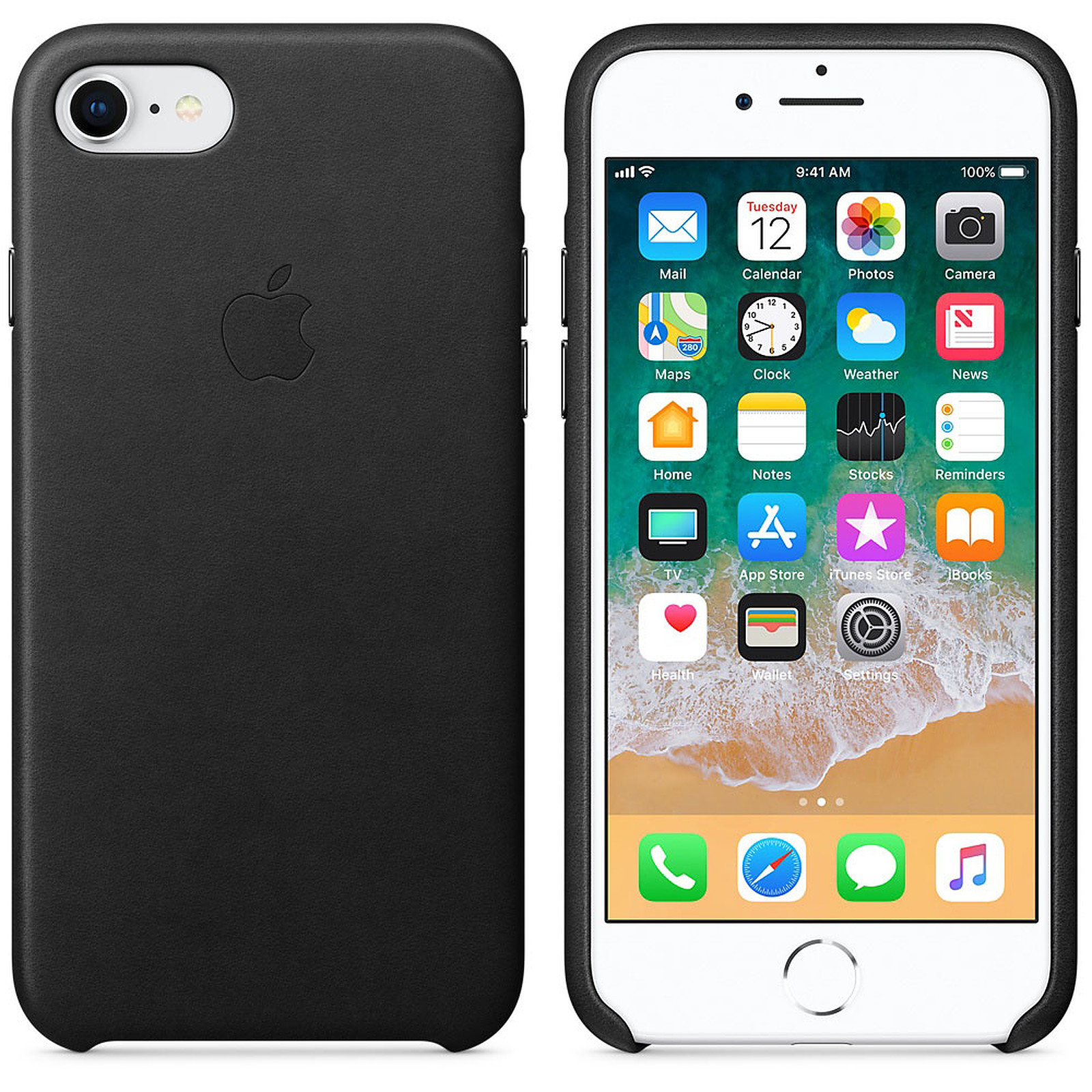 Apple Coque en cuir Noir Apple iPhone 8 / 7