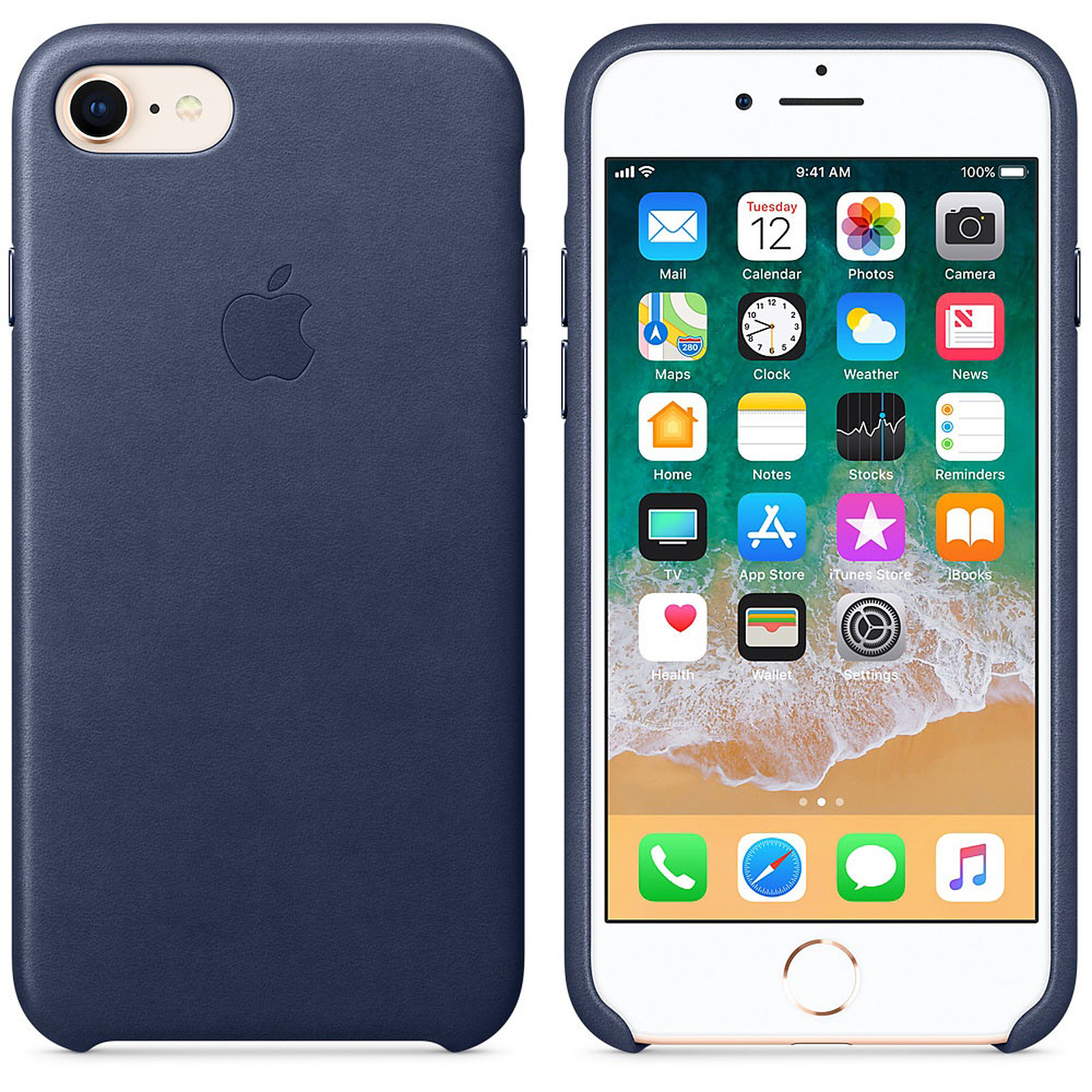 Apple Coque en cuir Bleu nuit Apple iPhone 8 / 7