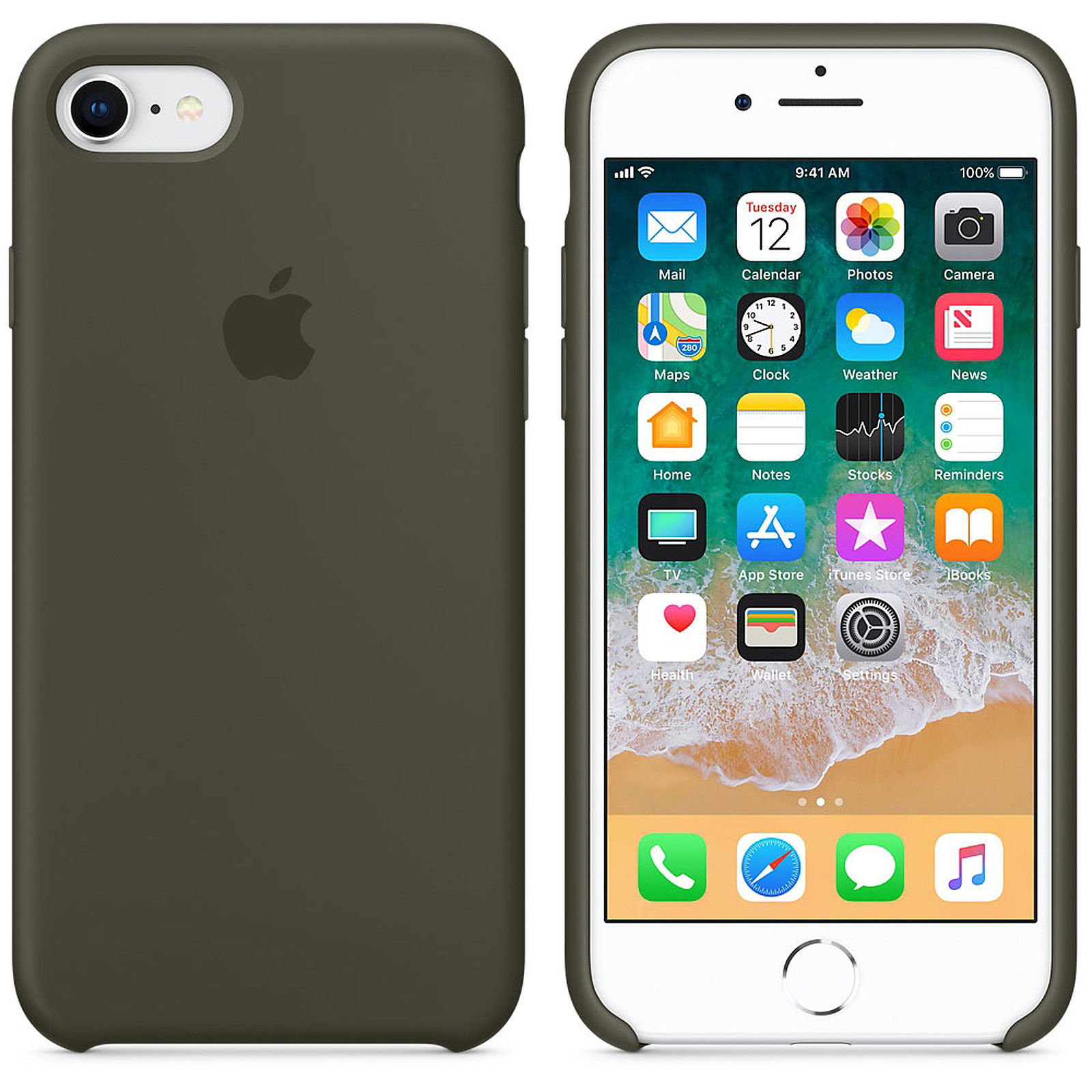Apple Coque en silicone Olive Sombre Apple iPhone 8 / 7