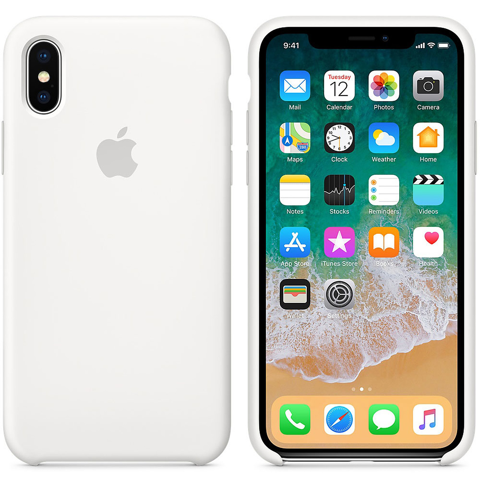 c92f77c69e1 Apple Funda de silicona blanca Apple iPhone X - Funda de teléfono ...