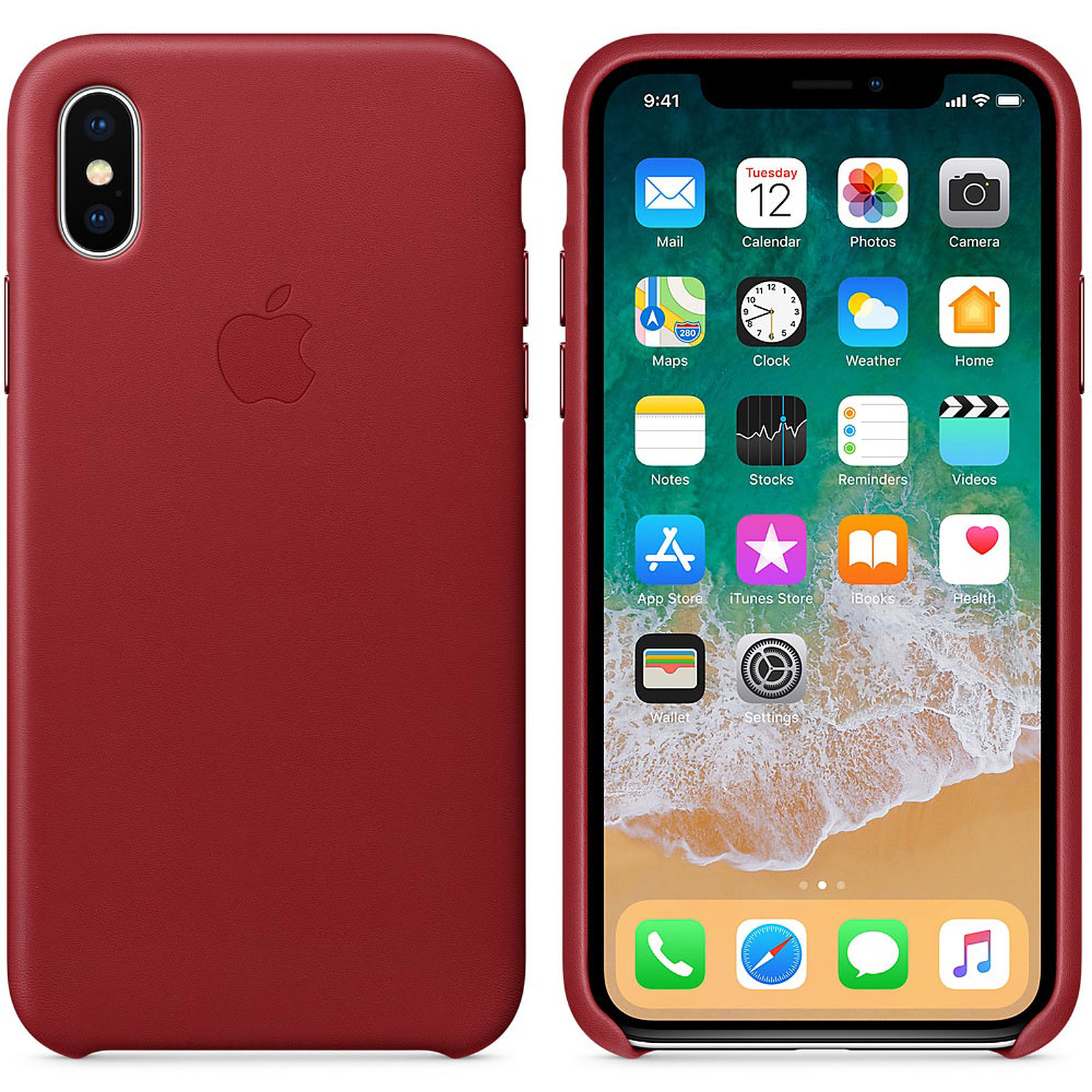 apple coque en cuir product red apple iphone x etui. Black Bedroom Furniture Sets. Home Design Ideas