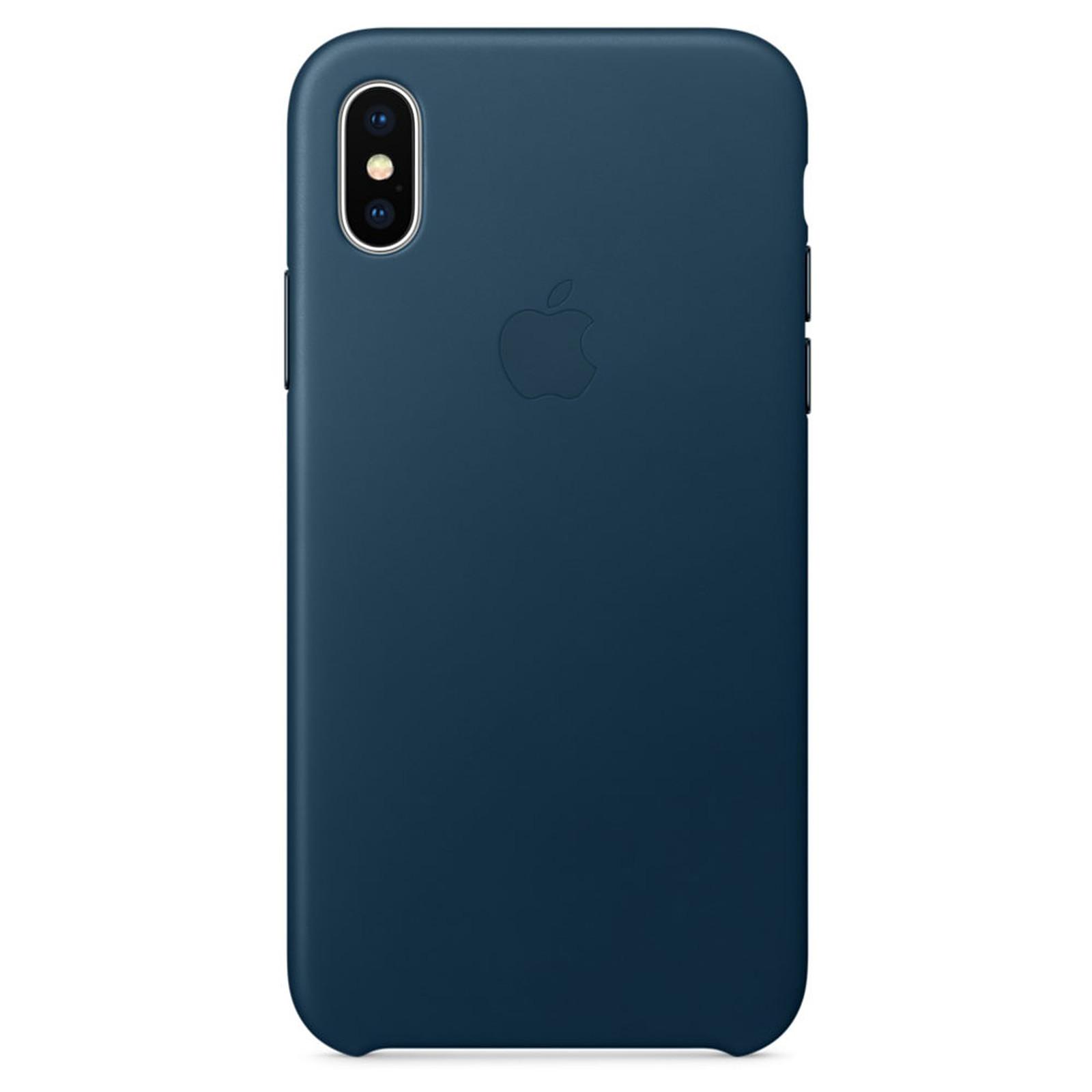 Apple Coque en cuir Bleu cosmos Apple iPhone X - Coque téléphone ...