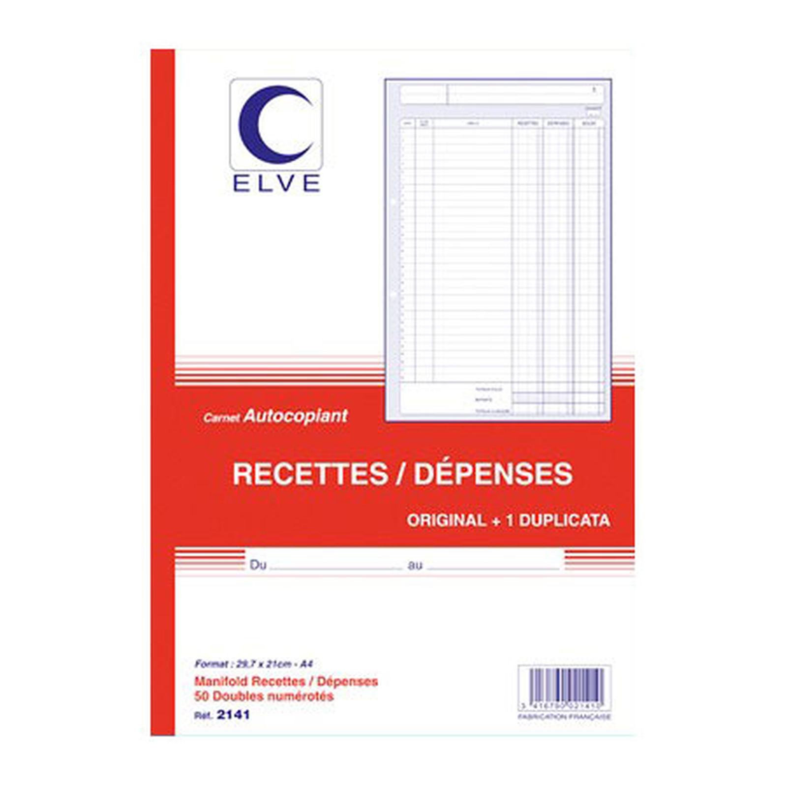 Elve Carnet Recettes/Dépenses, 50 feuillets