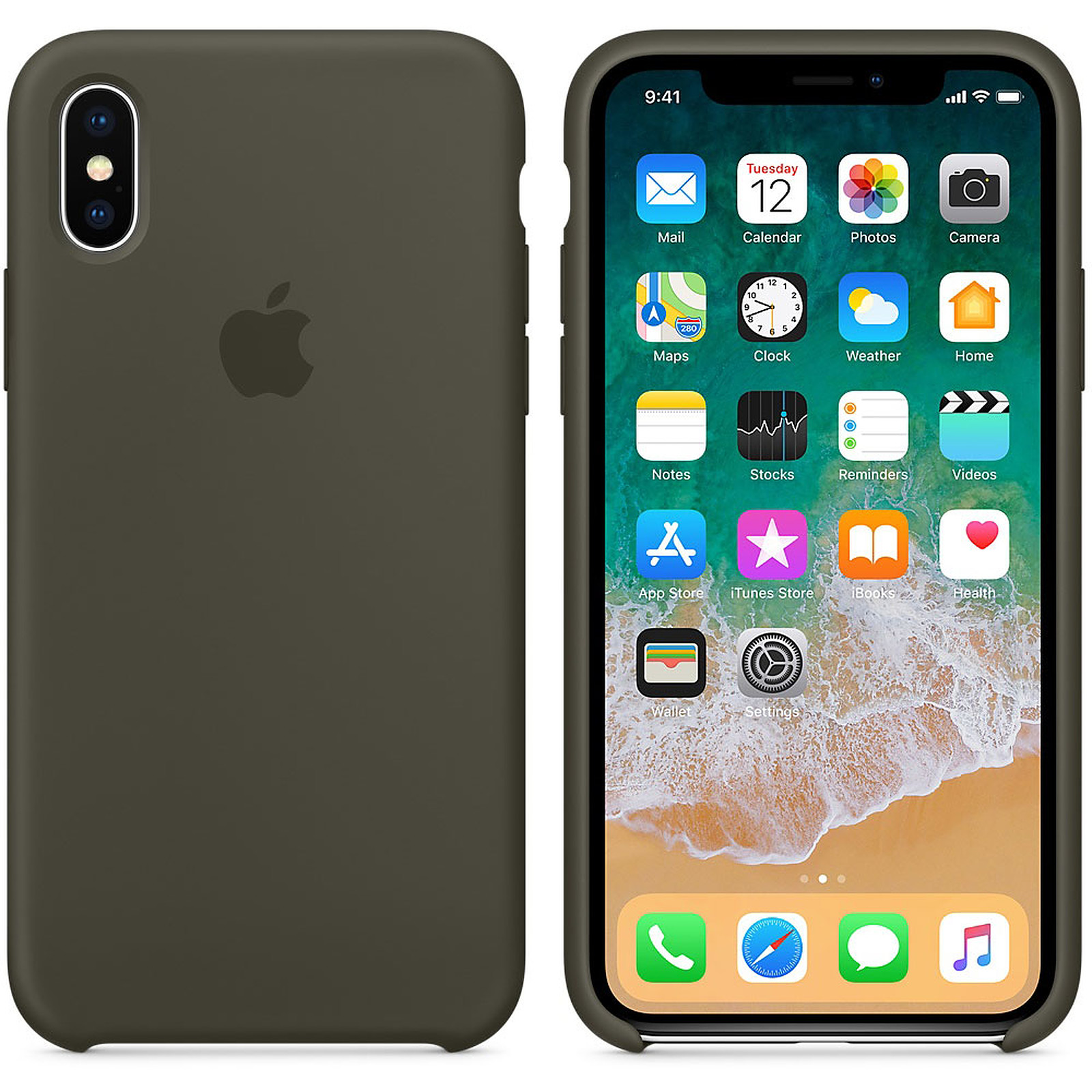 Apple Carcasa de silicona Oliva oscura Apple iPhone X