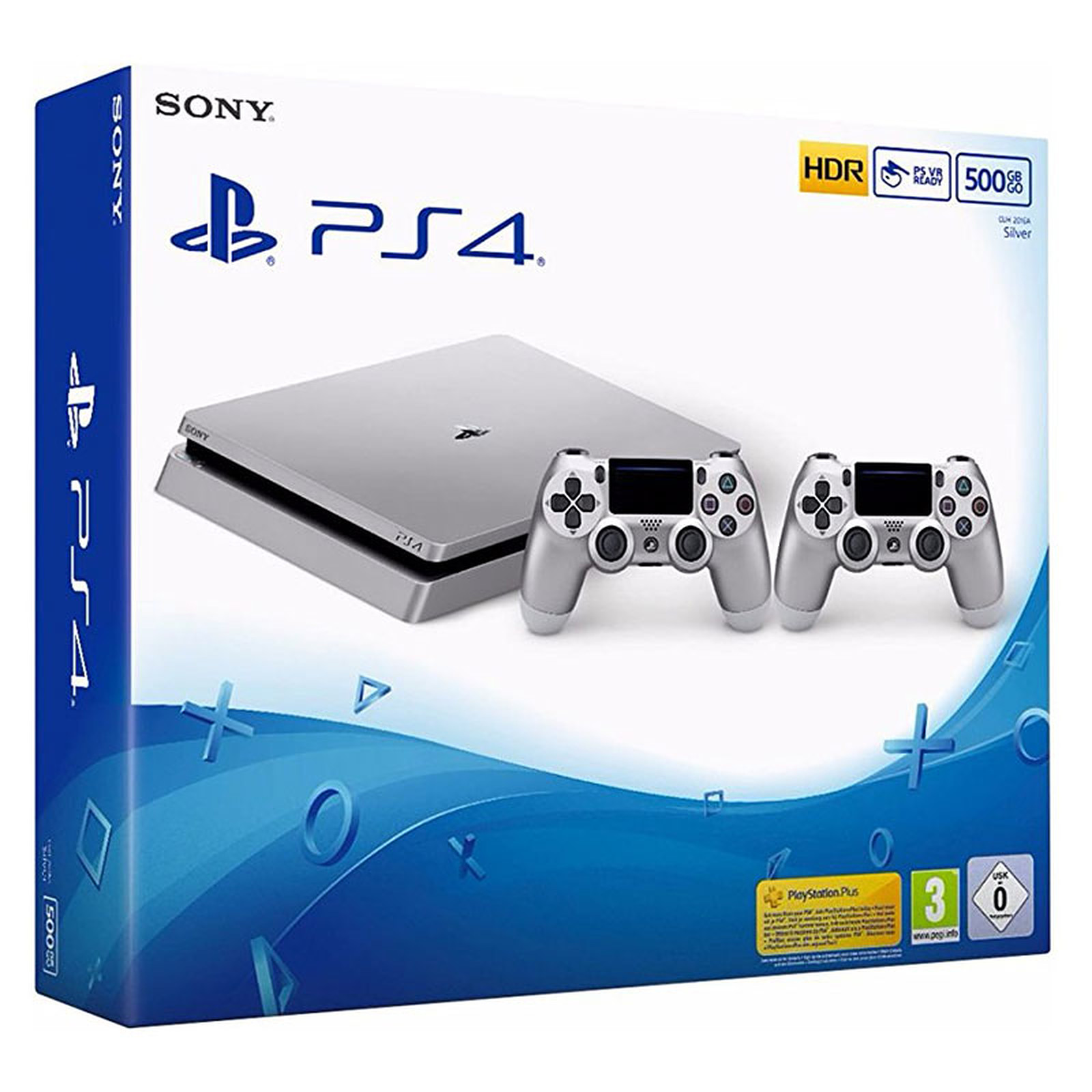 Sony PlayStation 4 Slim Argent (500 Go) + 2 DualShock