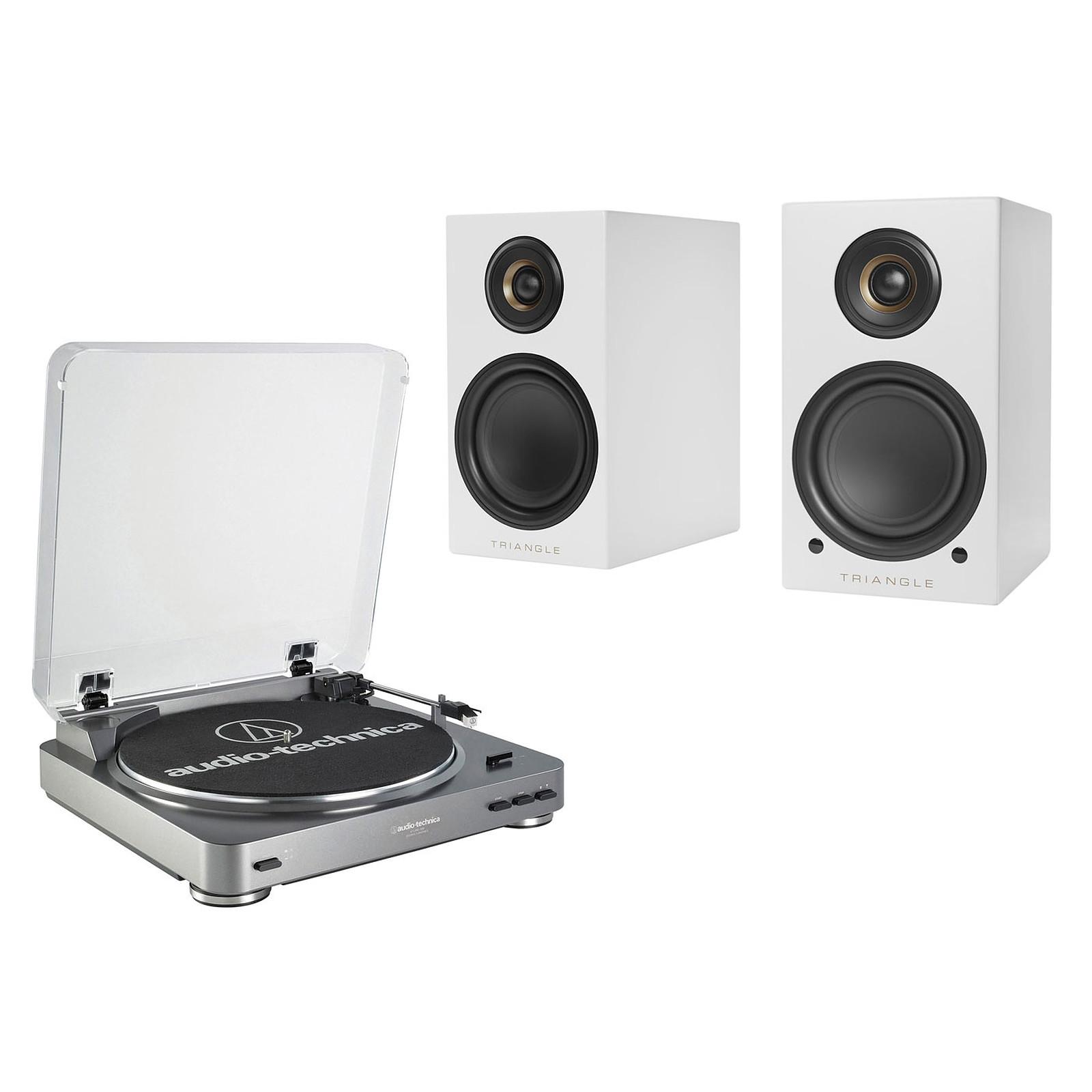 Audio-Technica AT-LP60USB + Triangle Elara LN01A Blanc mat