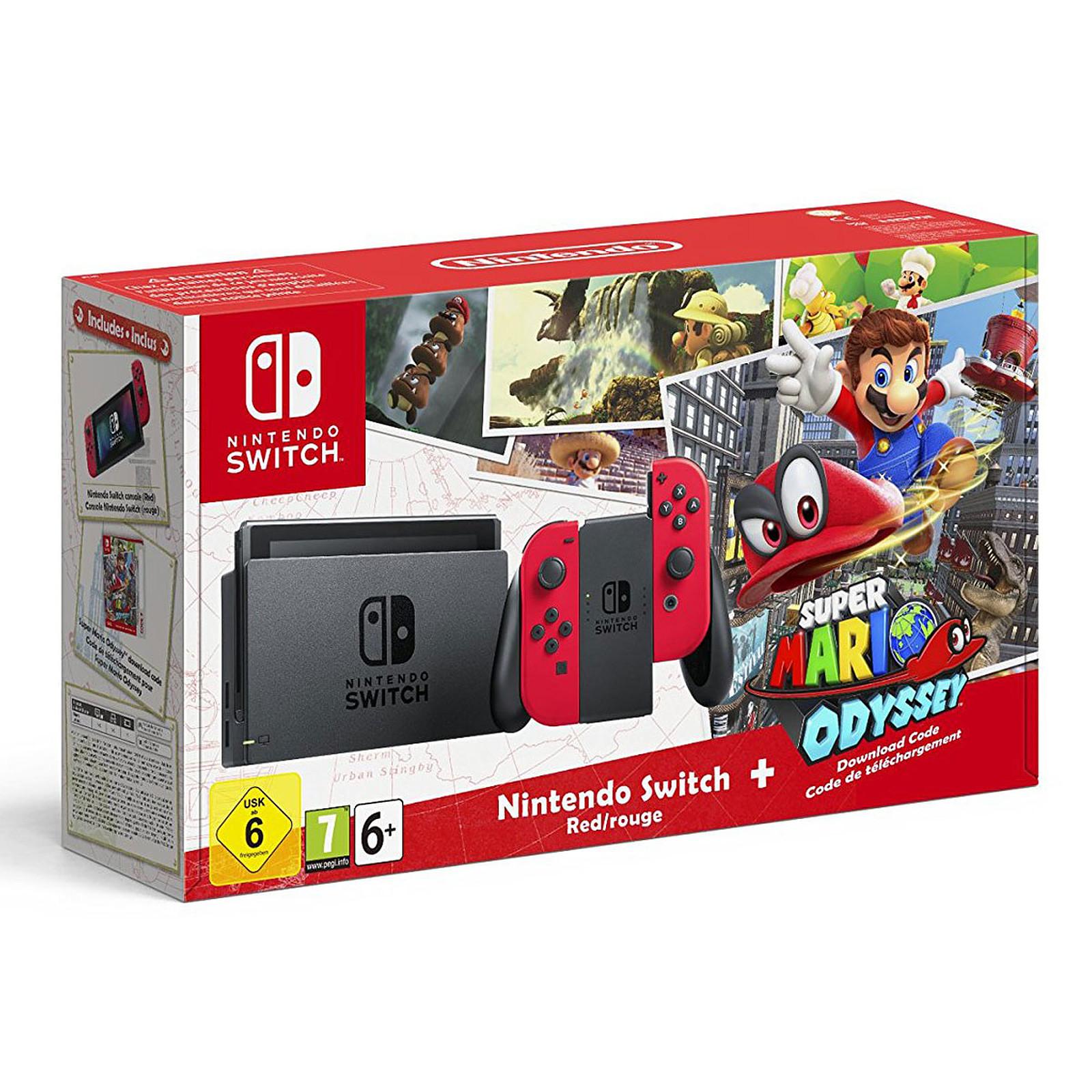 Nintendo Switch + Joy-Cons (rouge) + Super Mario Odyssey