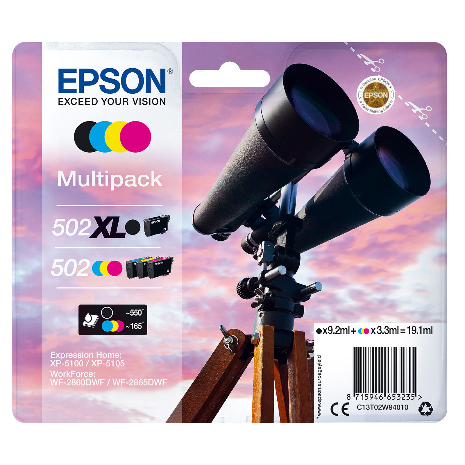 Epson Jumelles 502XL Noir + Cyan/Magenta/Noir Standard