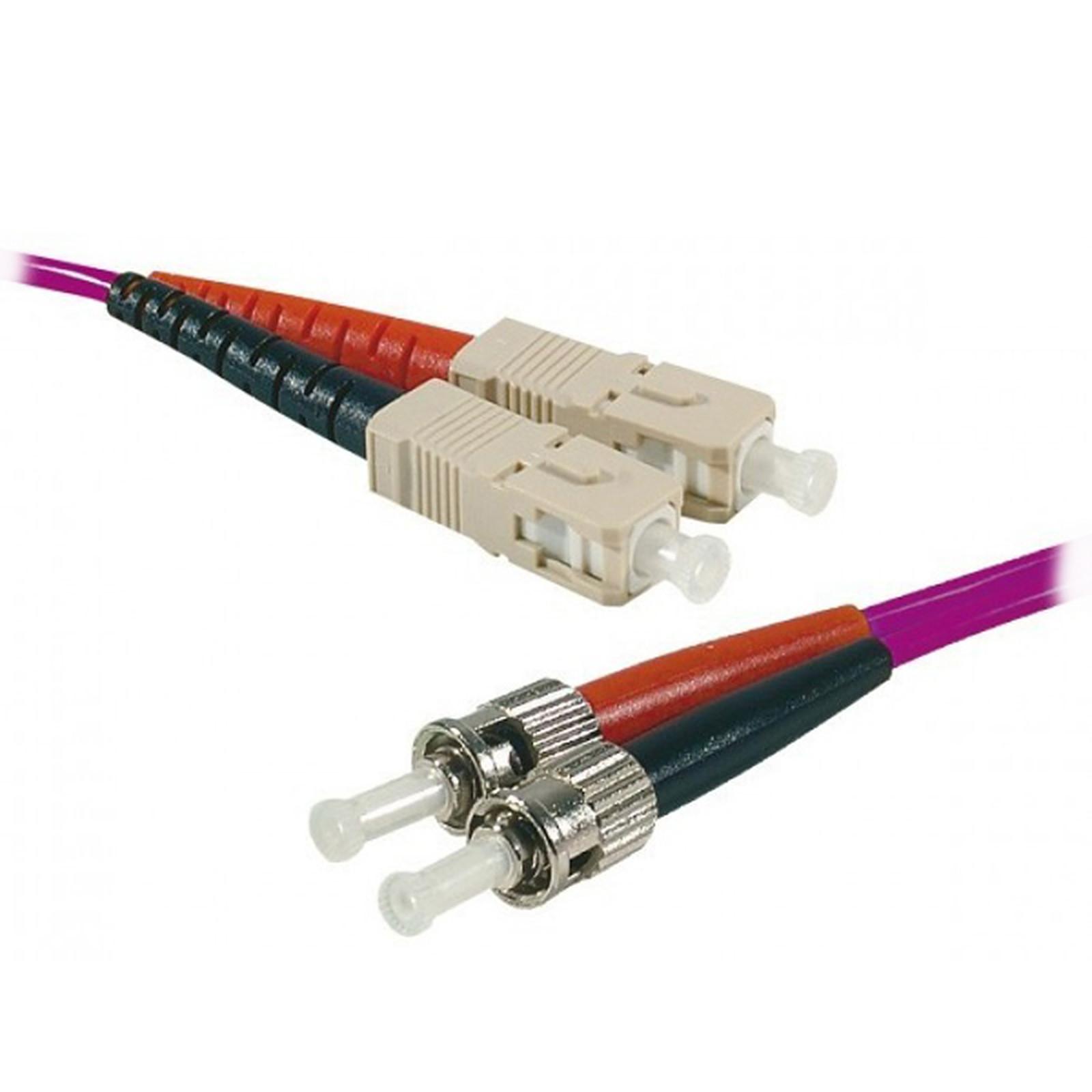 Jarretière optique duplex multimode 2mm OM4 ST-UPC/SC-UPC (1 mètre)