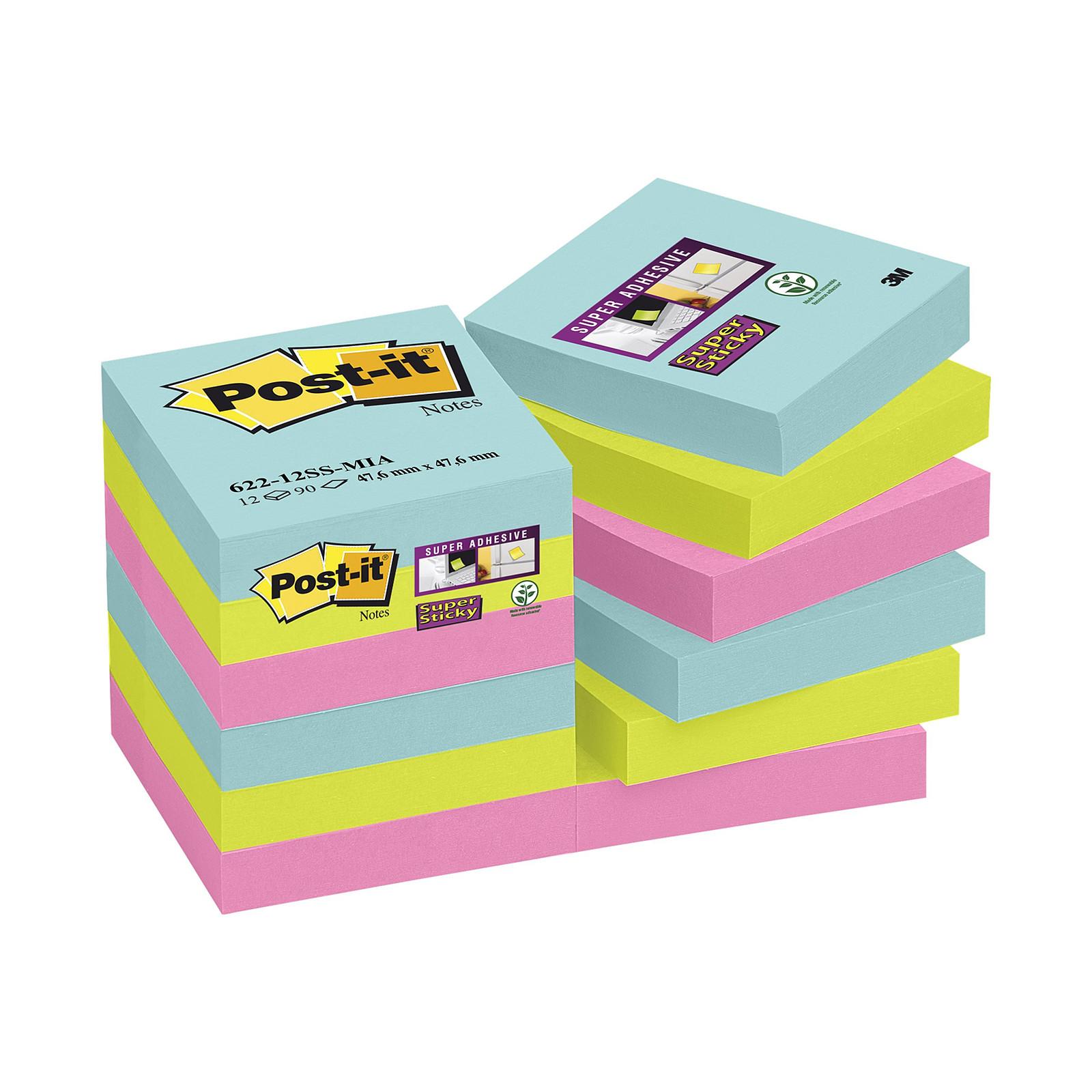 """Post-it Bloc """"Super Sticky"""" 47.6 x 47.6 mm Miami x 12"""