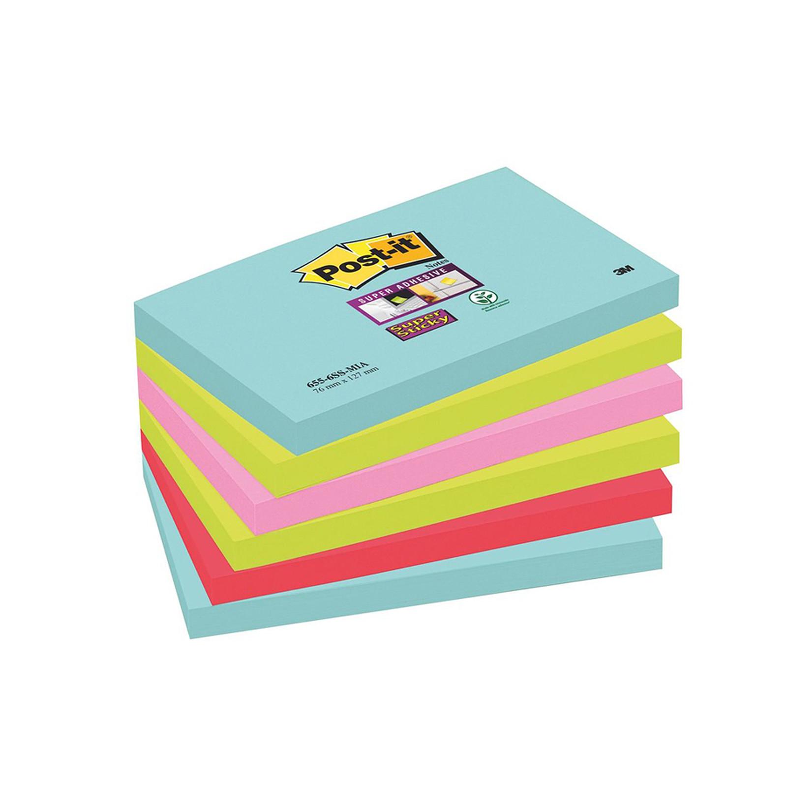 """Post-it Bloc """"Super Sticky"""" 76 x 127 mm Miami x 6"""