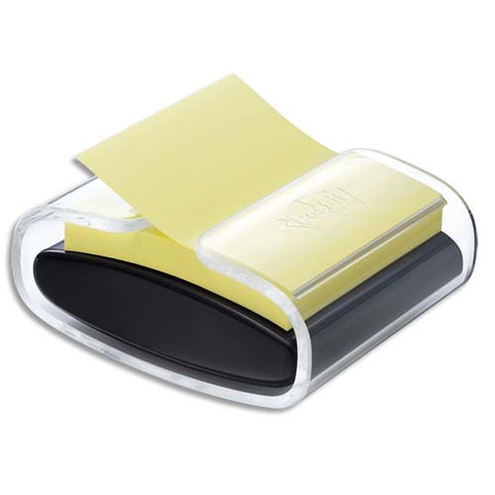 Post-it Dévidoir Pro Noir Z-Notes Super Sticky  + 1 bloc jaune 76 x 76 mm