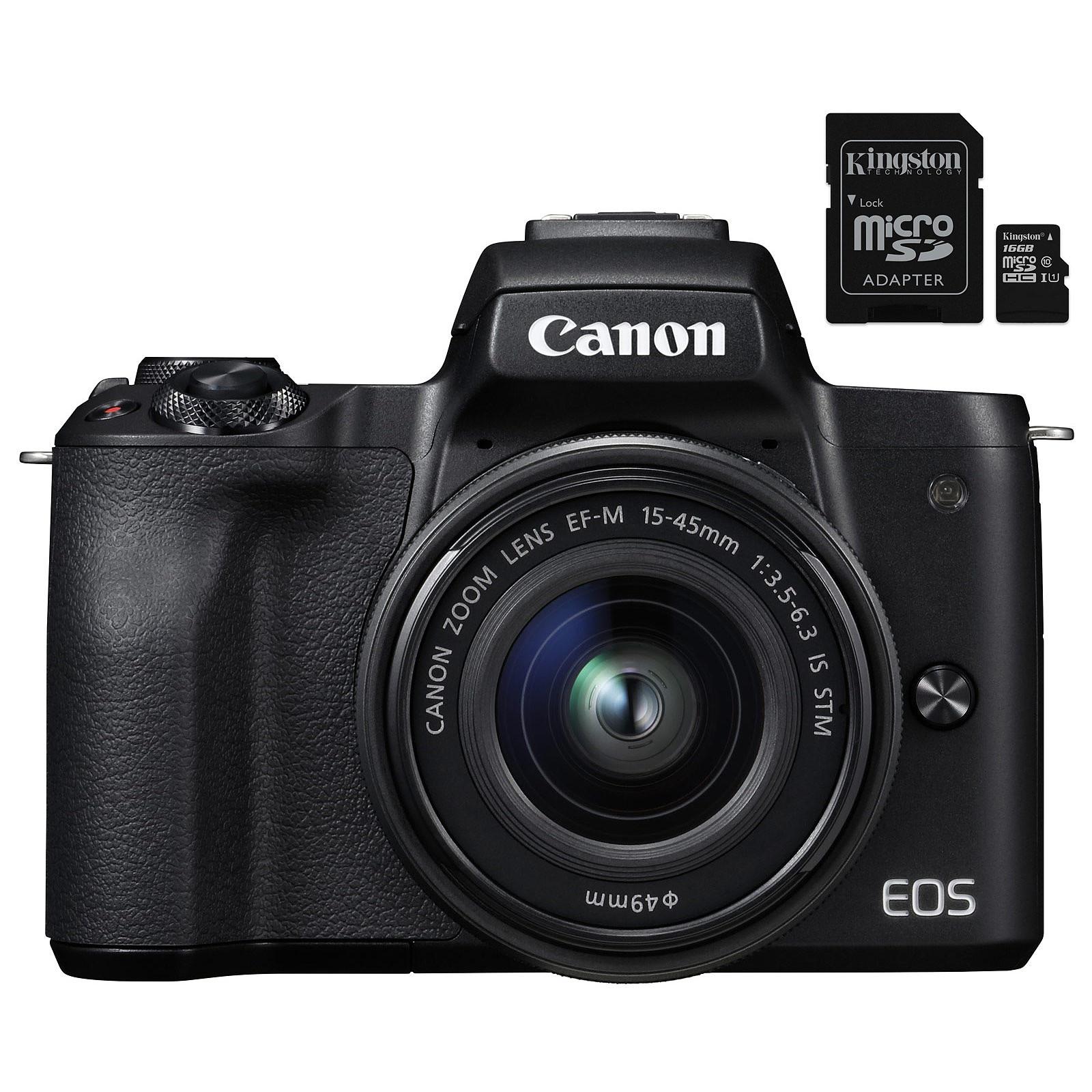 Canon EOS M50 Noir + EF-M 15-45 mm IS STM Noir + Kingston Canvas Select SDCS/16GB