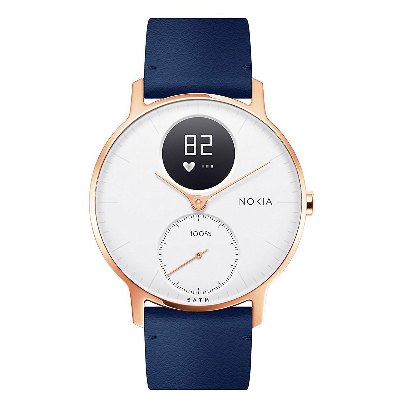 Withings Nokia Steel HR 36 mm Cuir Bleu & Or Rose